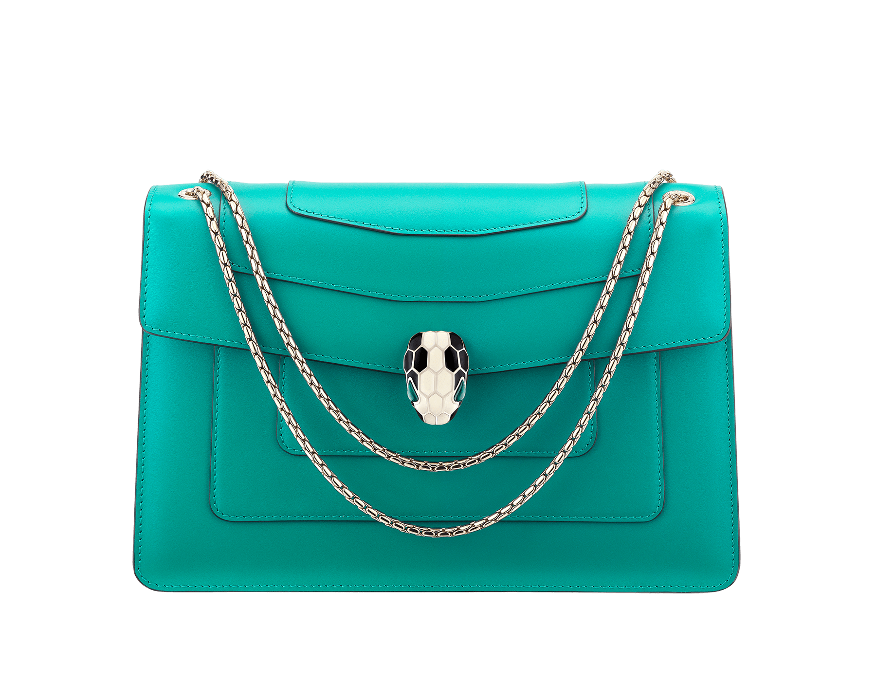Serpenti Forever shoulder bag in tropical turquoise smooth calf leather. Snakehead closure in light gold plated brass decorated with black and white enamel, and green malachite eyes. 287931 image 1