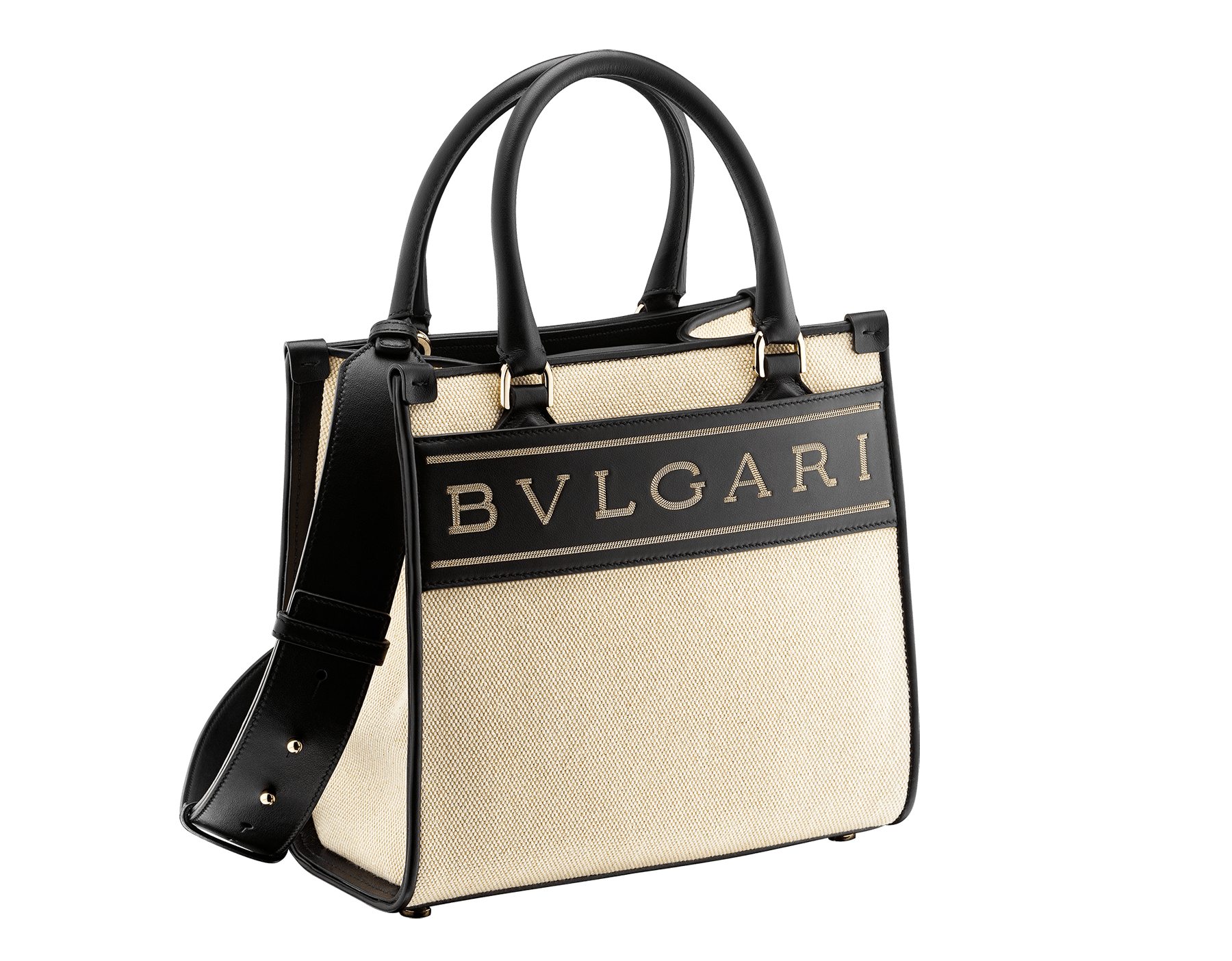 """Bvlgari Logo"" small tote bag in Ivory Opal white canvas, with Beet Amethyst purple grosgrain inner lining. Bvlgari logo featured with light gold-plated brass chain inserts on the Ivory Opal white calf leather. BVL-1159-CC image 2"
