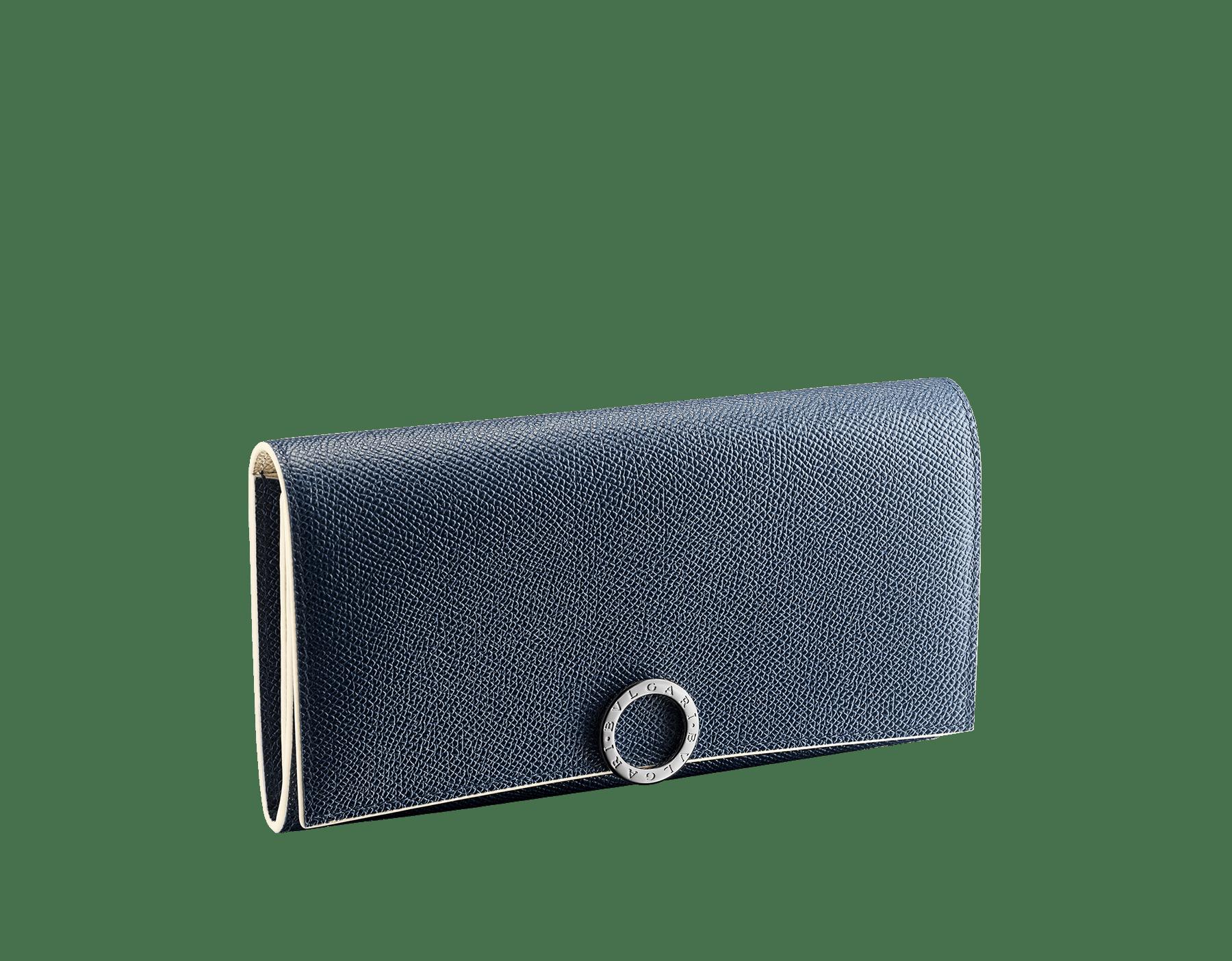 Grand portefeuille «Bvlgari Clip» en cuir de veau grainé couleur blanc Agate et couleur bleu Denim Sapphire. Fermoir emblématique orné du logo Bvlgari en laiton. BCM-WLT-POCHE-16CCb image 1