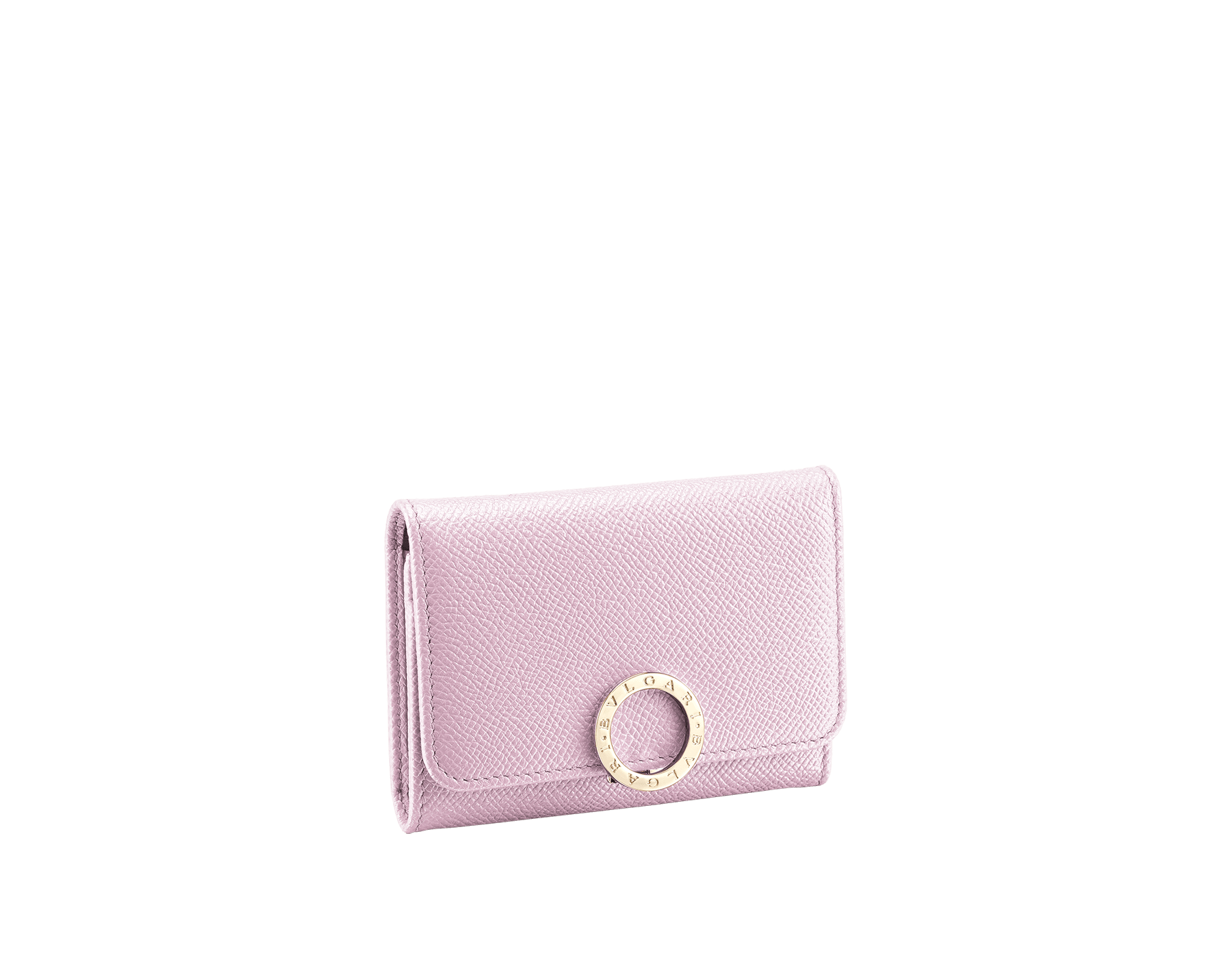BVLGARI BVLGARI business card holder in rosa di francia bright grain calf leather and flamingo quartz nappa leather. Iconic logo clip closure in light gold plated brass. 289039 image 1