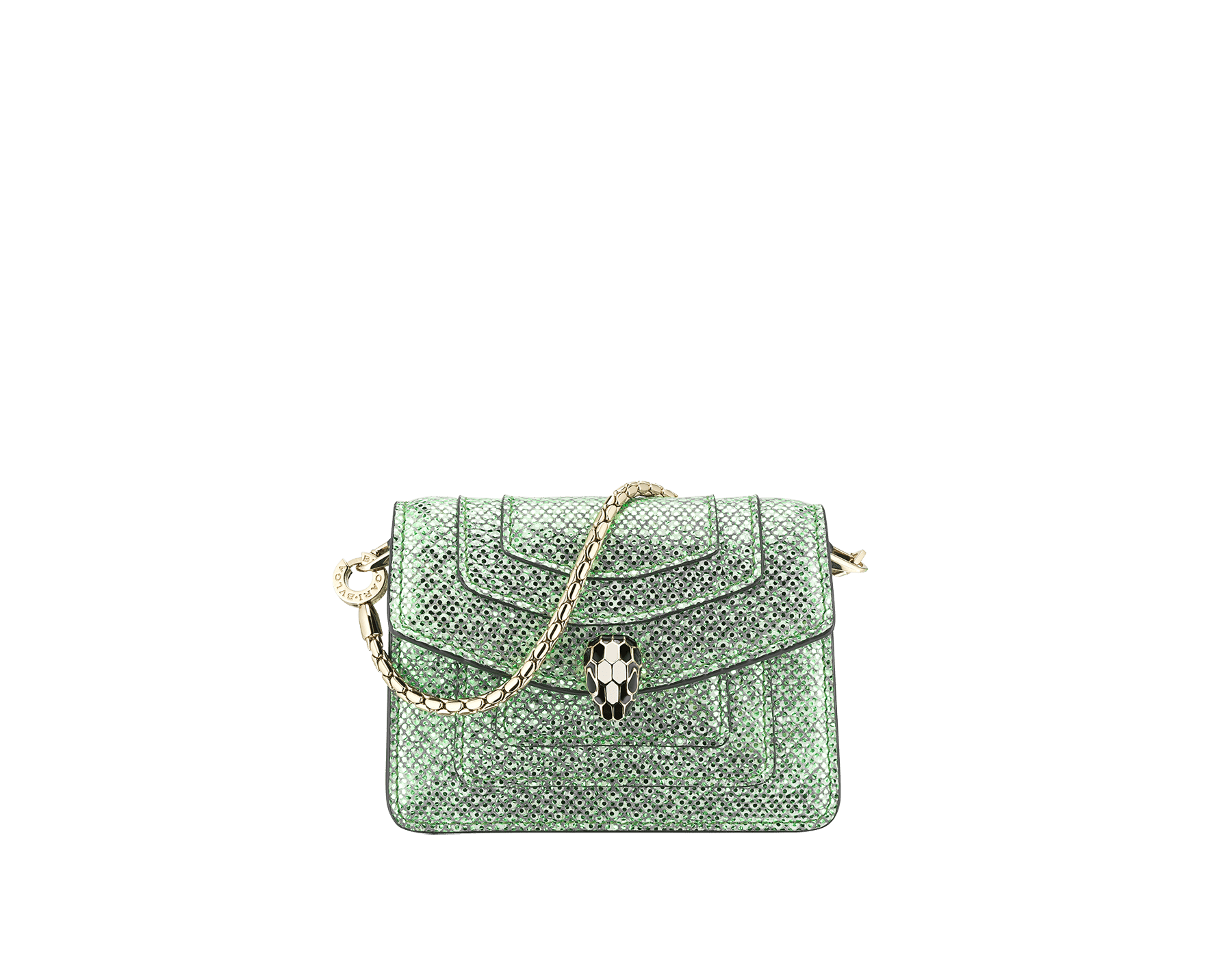 """Serpenti Forever"" miniature bag charm in mint metallic karung skin and black calf leather. Iconic brass light gold plated snakehead stud closure enamelled in black and white and finished with black enamel eyes. SERP-BAG-CHARM-MK image 1"