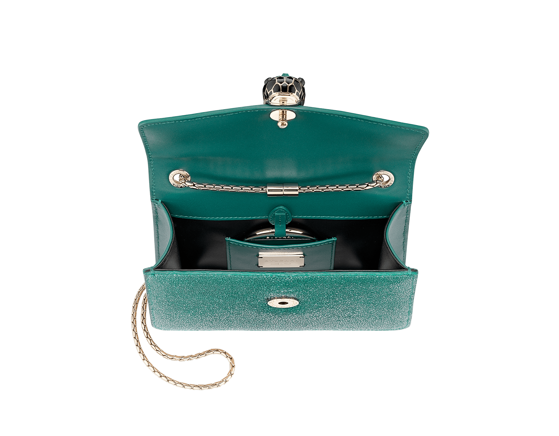 """Serpenti Forever"" crossbody bag in emerald green galuchat skin. Iconic snake head closure in light gold plated brass enriched with black enamel, malachite scales and black onyx eyes. 289021 image 4"