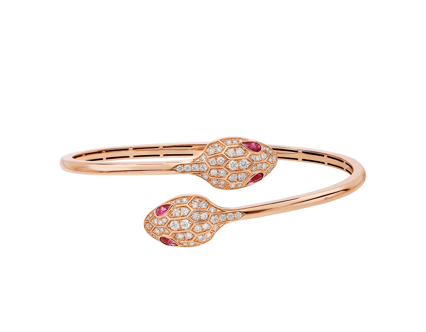 Bracelet Serpenti en or rose 18 K avec yeux en rubellite (0,45 ct) et pavé diamants (1,09 ct) BR858550 image 2