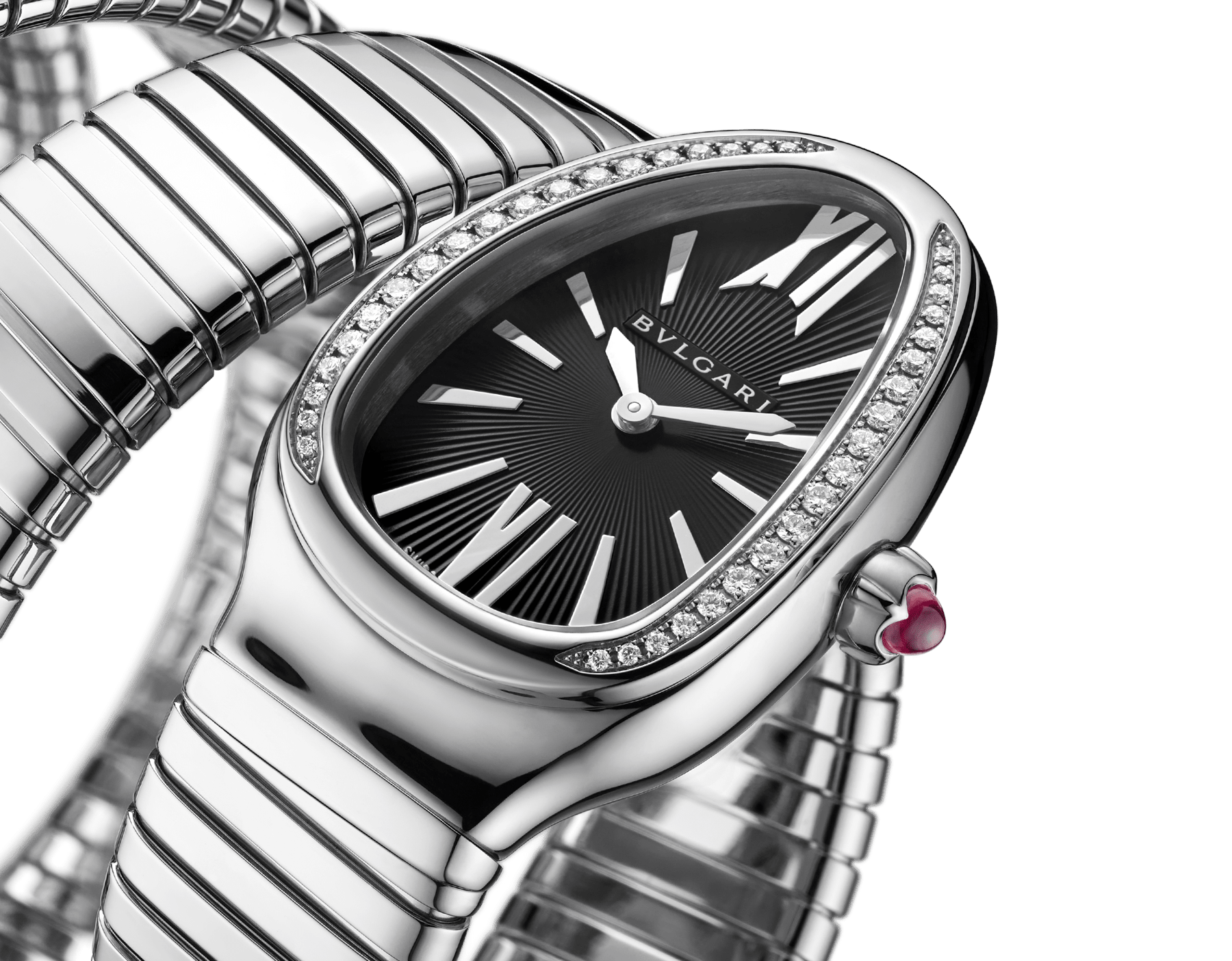 Serpenti Tubogas five-spiral watch with stainless steel case set with brilliant cut diamonds, black opaline dial and stainless steel bracelet. 102736 image 2