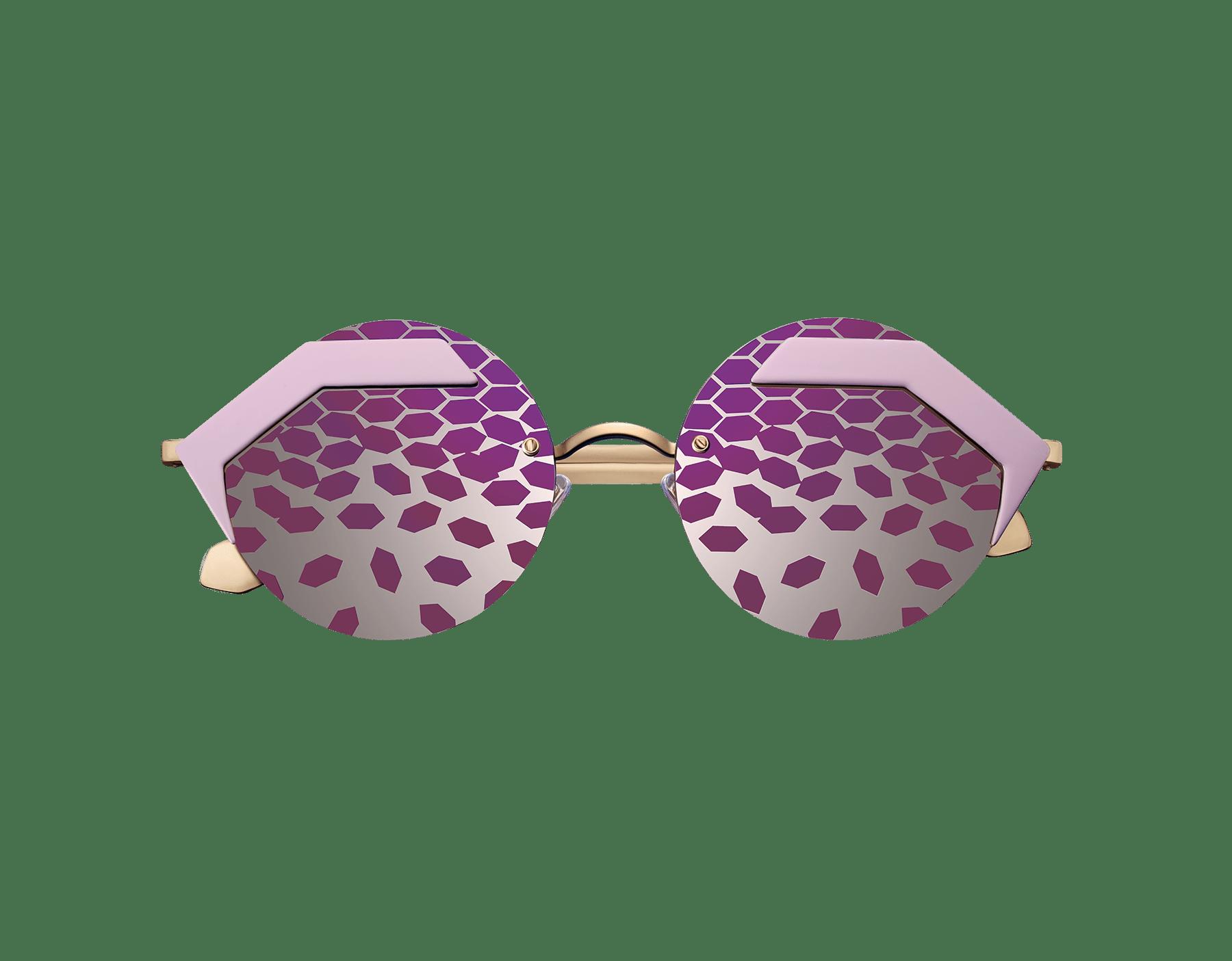 Óculos de sol Bulgari Serpenteyes com armação metálica hexagonal e lentes redondas planas. 903425 image 2