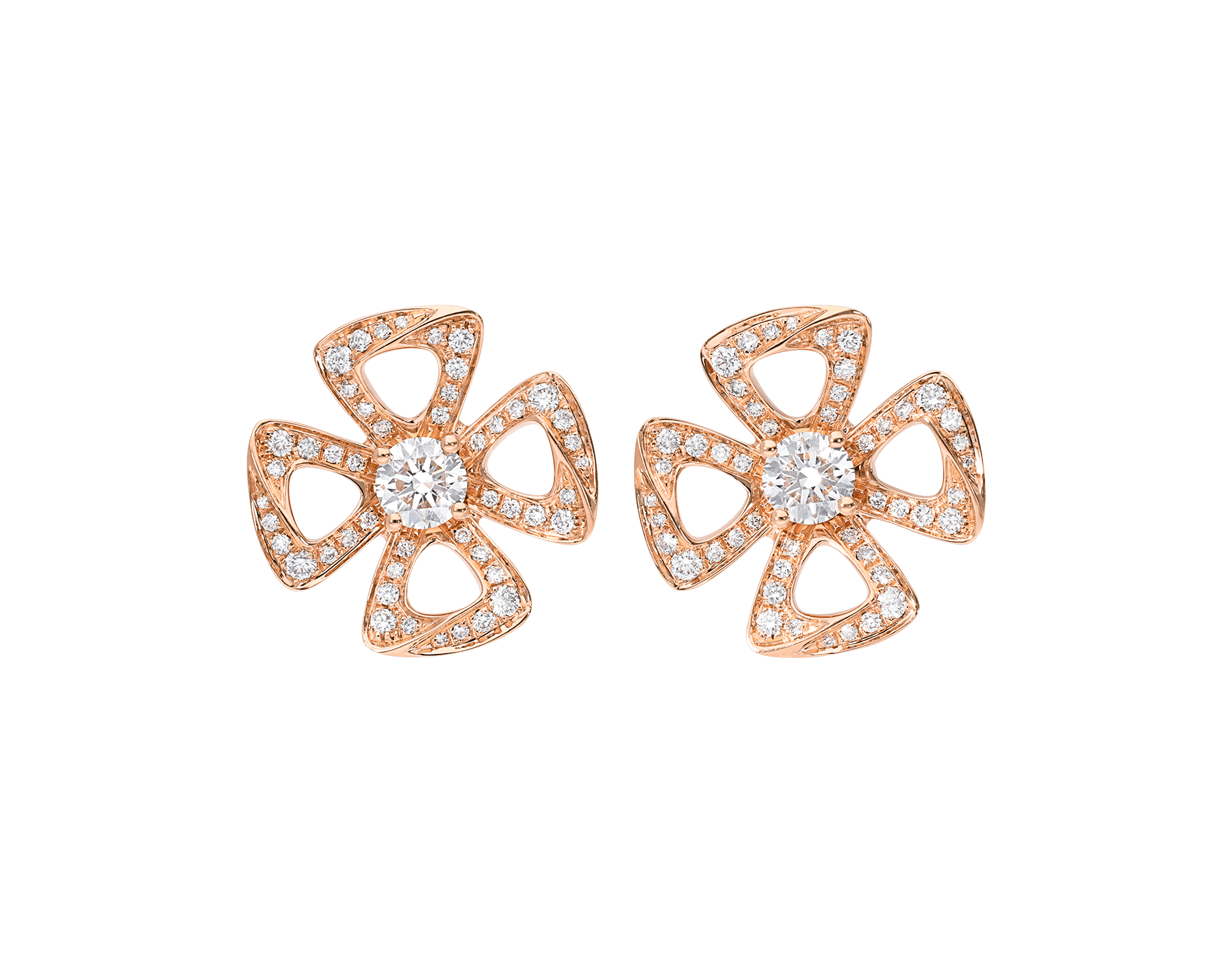 Fiorever 18 kt rose gold earrings set with two central diamonds (0.20 ct each) and pavé diamonds (0.33 ct) 355887 image 1