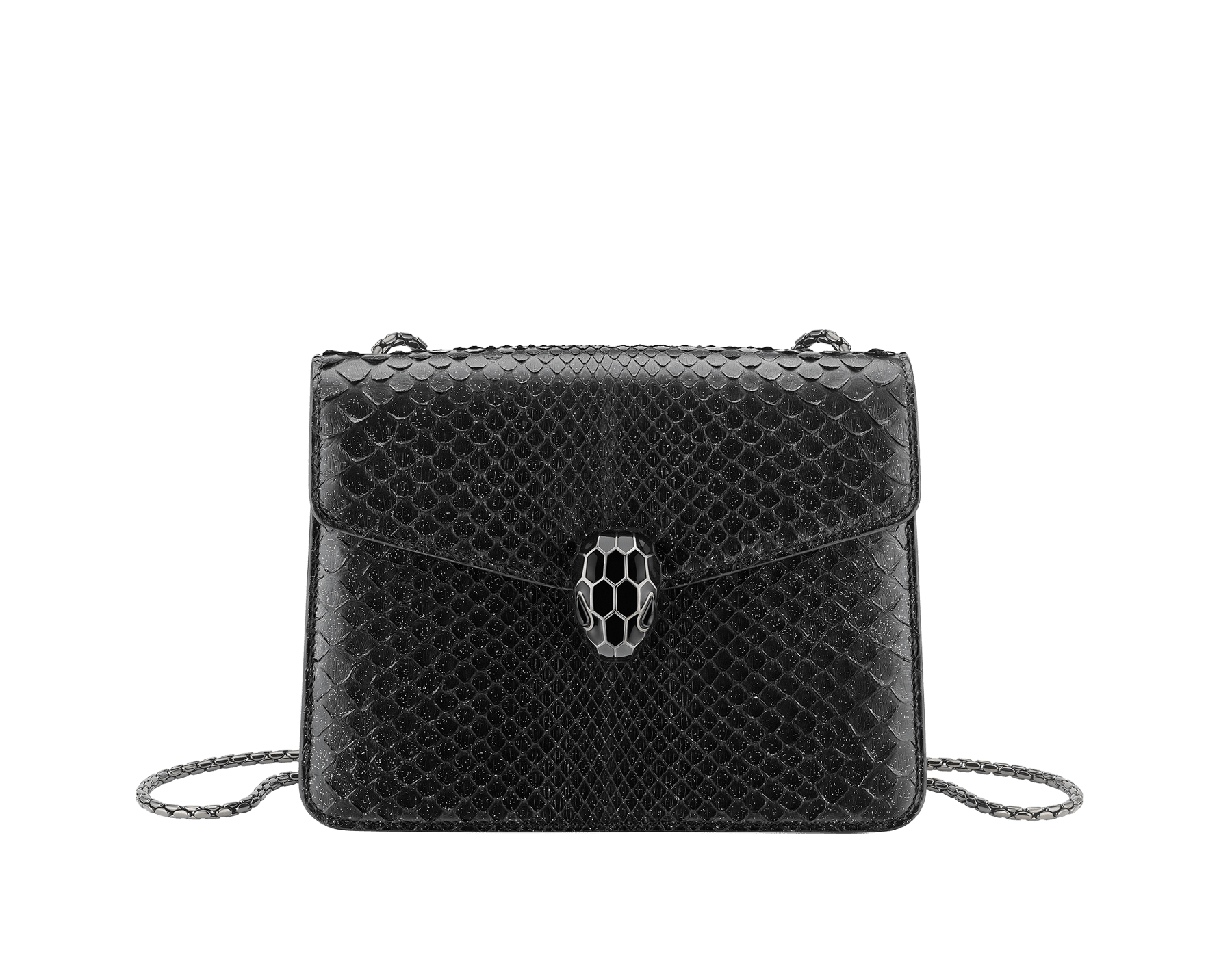 """Serpenti Forever"" crossbody bag in black Diamond Glam python skin. Iconic snake head closure in dark ruthenium plated brass enriched with black enamel and black onyx eyes. 288869 image 1"