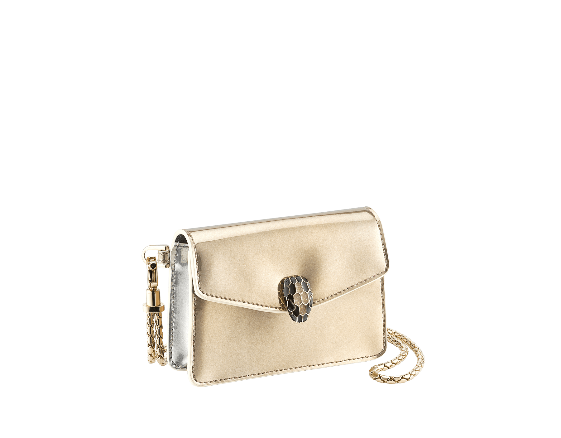 Serpenti Forever Holiday Season neck credit card holder in antique bronze and silver brushed metallic calf leather. Snakehead closure in light gold plated brass embellished with black and glitter antique bronze enamel, and black onyx eyes. 289490 image 1