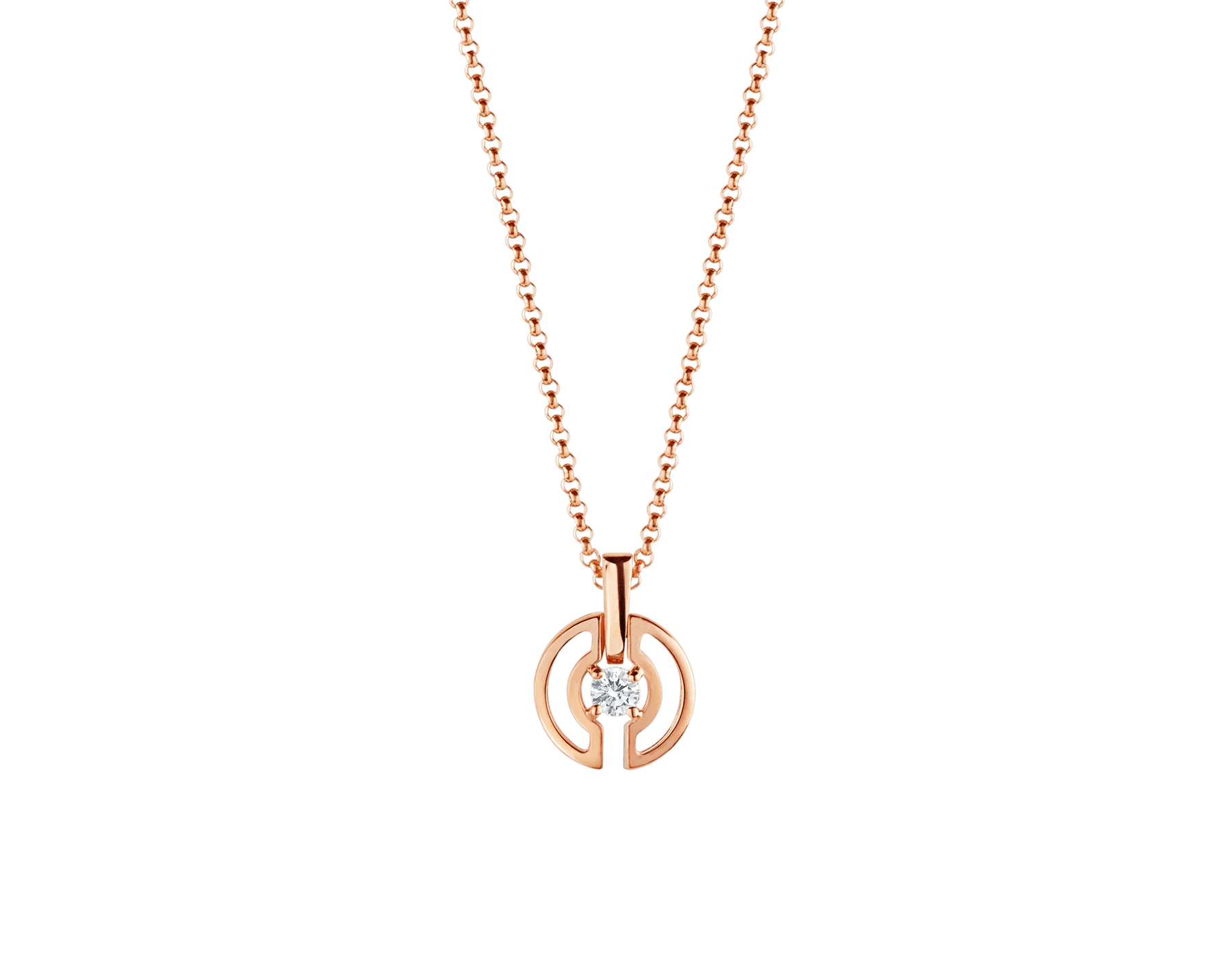 Parentesi necklace with 18 kt rose gold chain and pendant, set with a central diamond. 354605 image 1