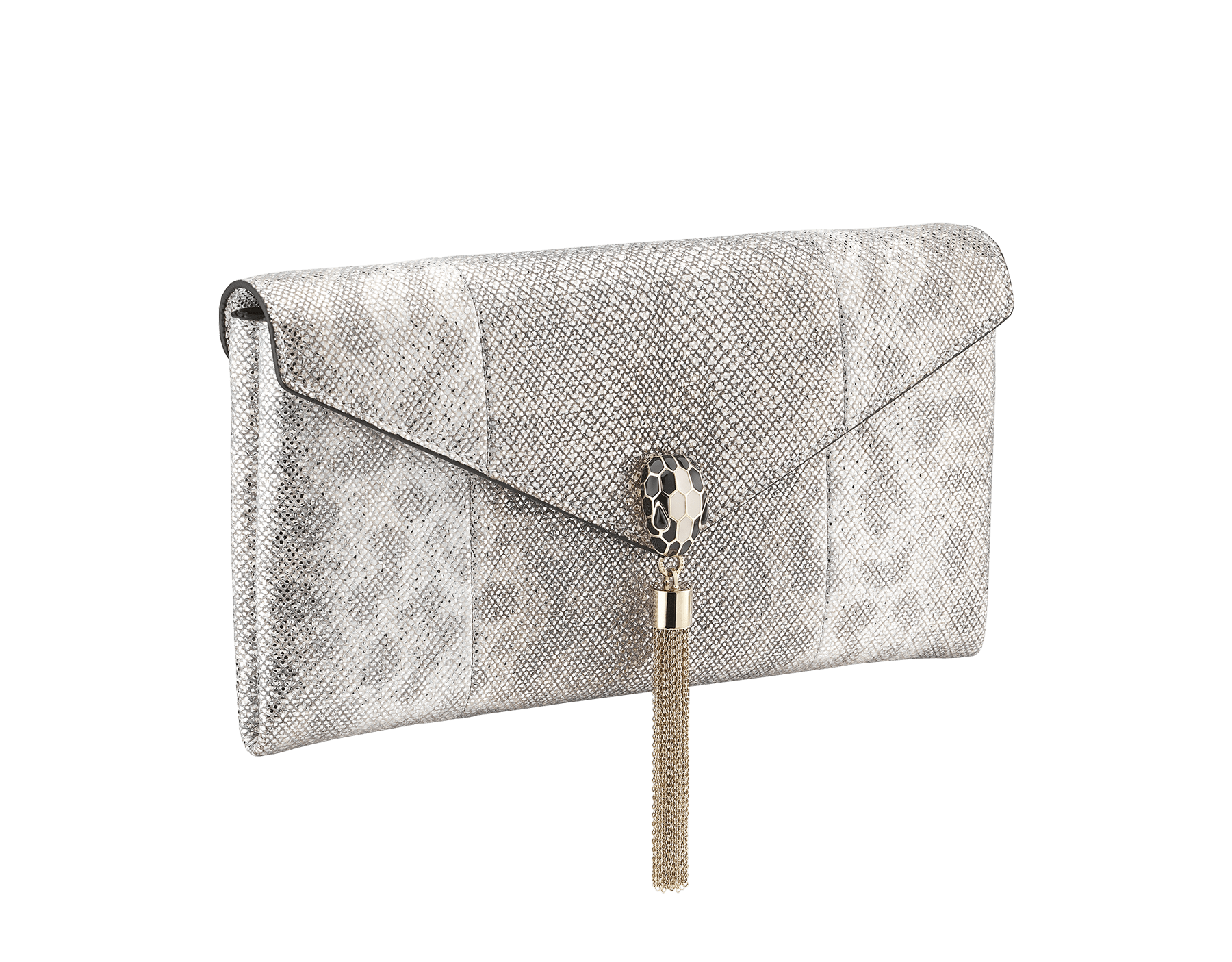 """Serpenti"" evening clutch bag in white agate metallic karung skin. Iconic snakehead stud closure with tassel in light gold plated brass enriched with shiny black and white agate enamel and black onyx eyes. 289004 image 2"