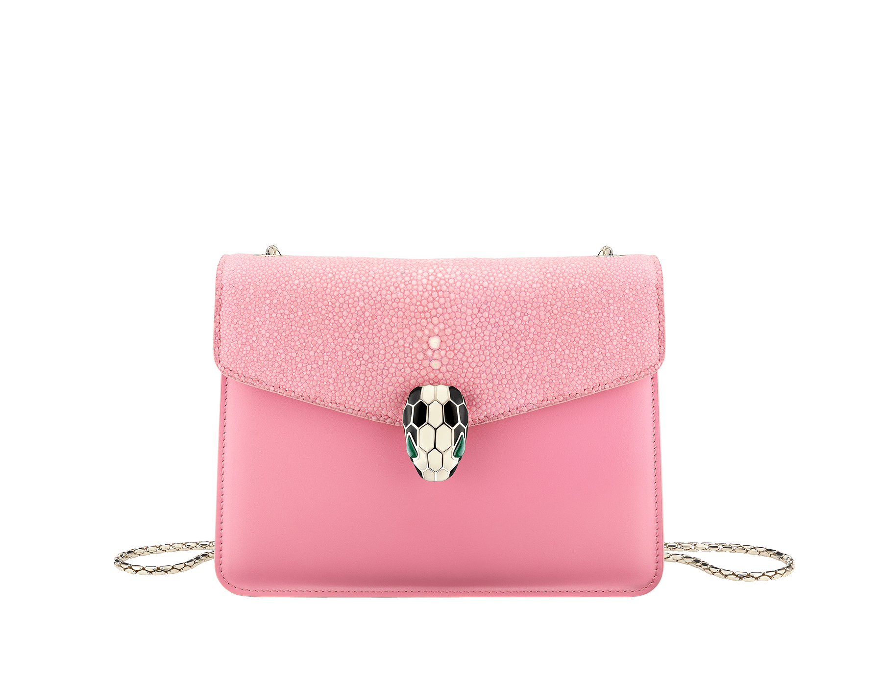 """""""Serpenti Forever"""" crossbody bag in candy quartz galuchat skin and calf leather. Iconic snakehead closure in light gold plated brass enriched with black and white enamel and green malachite eyes 287055 image 1"""