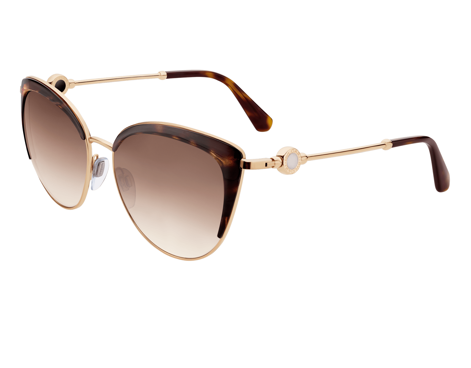 BVLGARI BVLGARI soft cat-eye metal sunglasses featuring a round décor with double logo. 903914 image 1