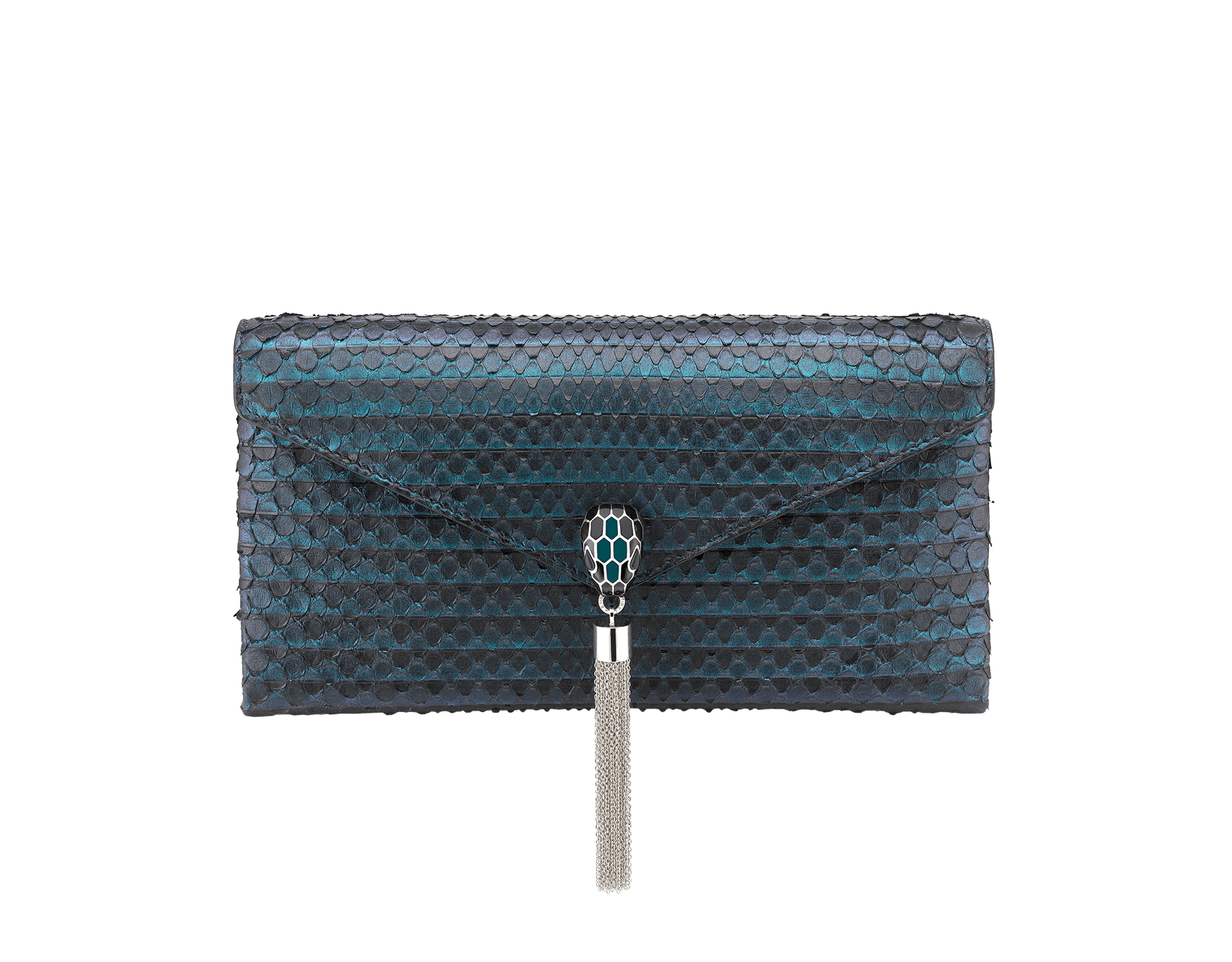 """Serpenti"" evening clutch bag in deep jade Plissé python skin. Iconic snakehead stud closure with tassel in palladium plated brass enriched with black and deep jade enamel and black onyx eyes. 288168 image 1"