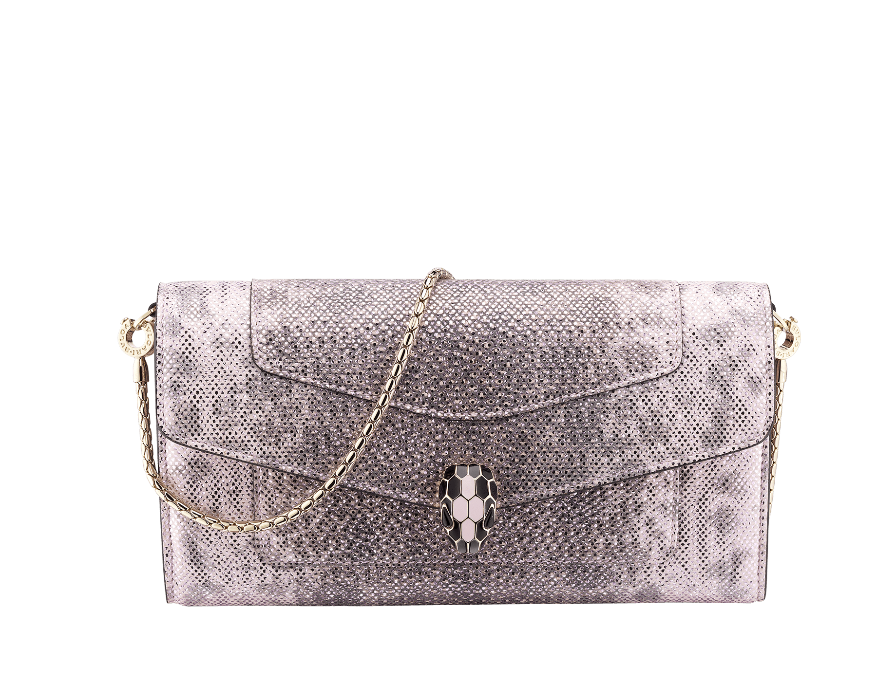 Serpenti Forever wallet pouch in rosa di francia metallic karung skin and rosa di francia calf leather. Iconic snakehead charm in black and rosa di francia enamel, with black onyx eyes. SEA-WLT-LONGCHAIN-MK image 1