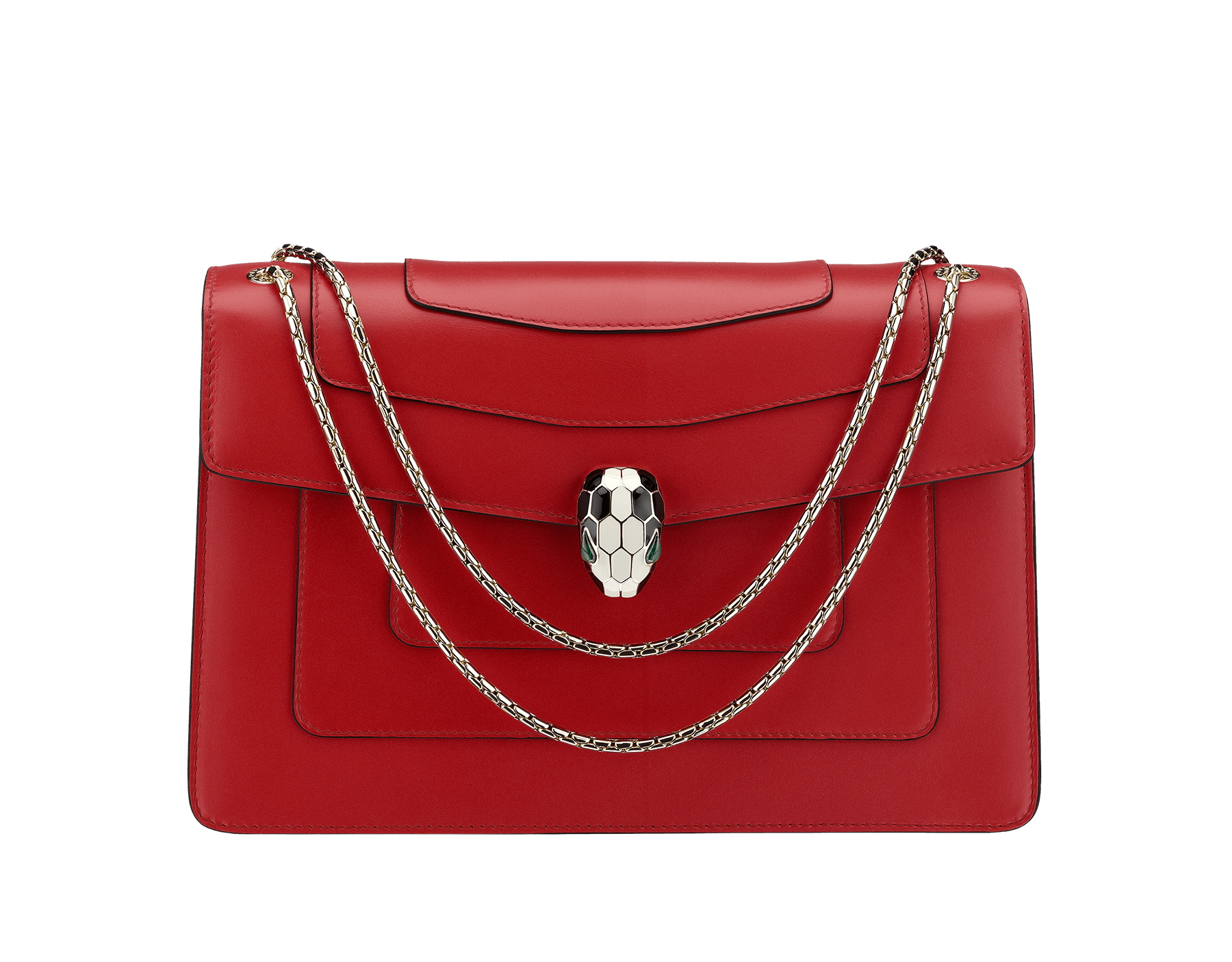 Flap cover bag Serpenti Forever in ruby red calf leather. Brass light gold plated snake head closure. 280153 image 1