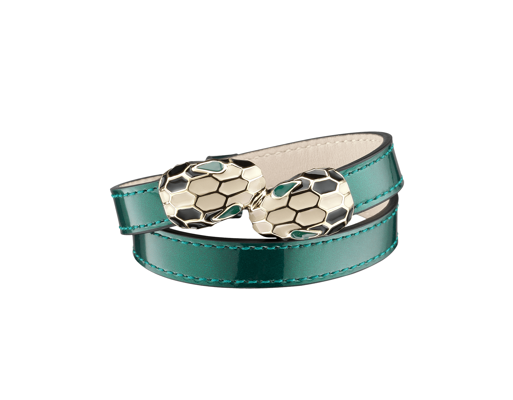 Multi-coiled bracelet in forest emerald brushed metallic calf leather. Brass light gold plated iconic contraire Serpenti heads in black and white enamel with green enamel eyes. MCSerp-BMCL-FE image 3