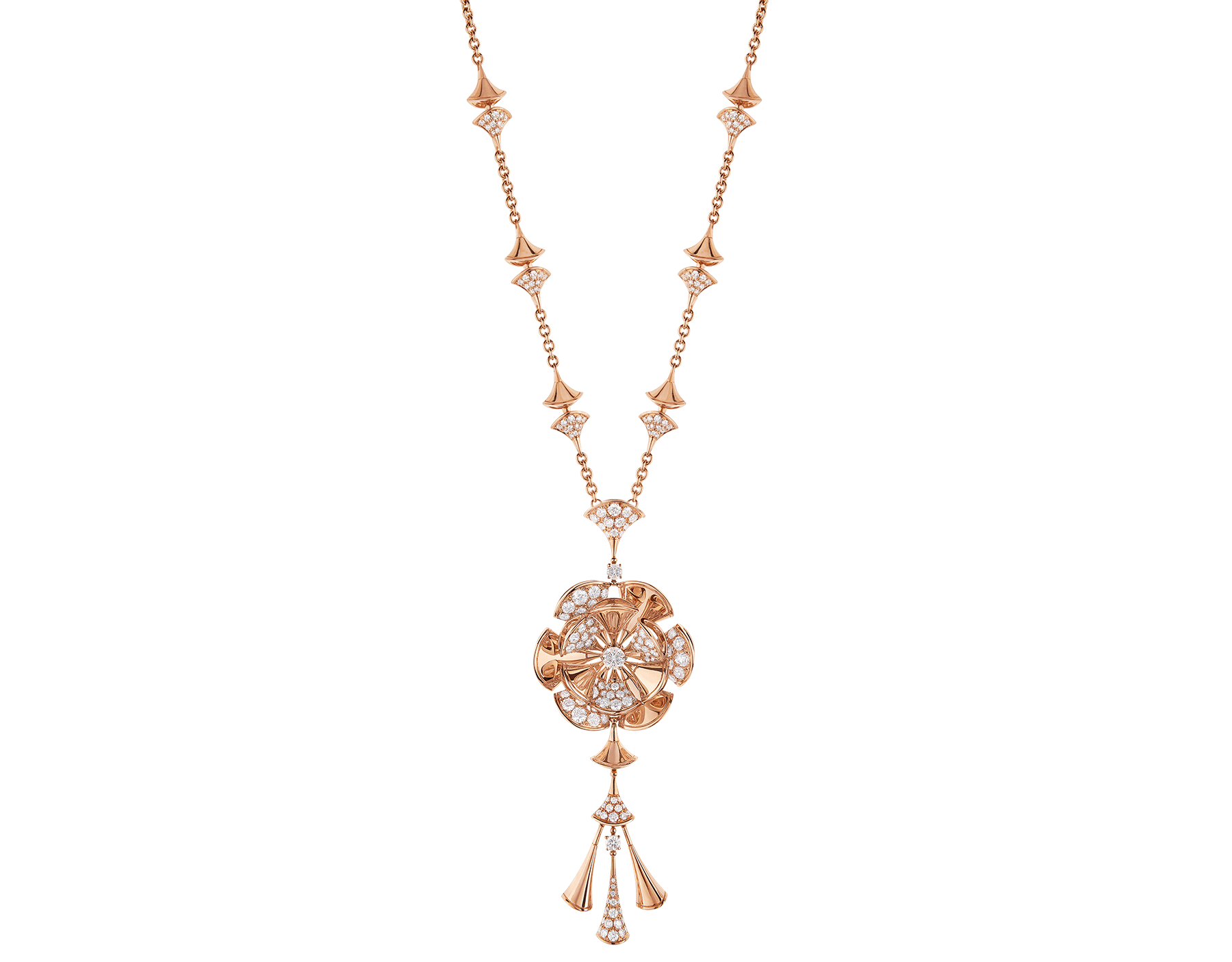 Collana DIVAS' DREAM in oro rosa 18 kt con tre diamanti e pavé di diamanti. 348361 image 1