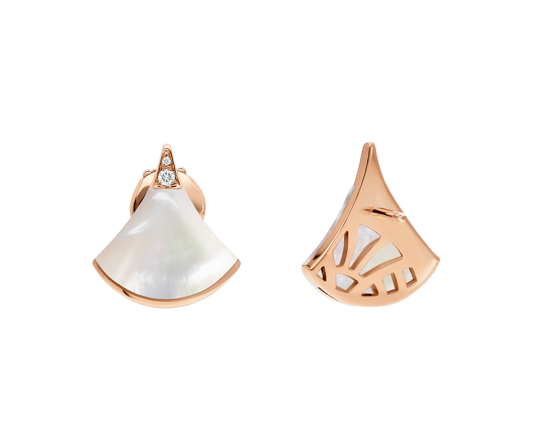 DIVAS' DREAM earrings in 18 kt rose gold, set with mother-of-pearl and pavé diamonds. 352600 image 3