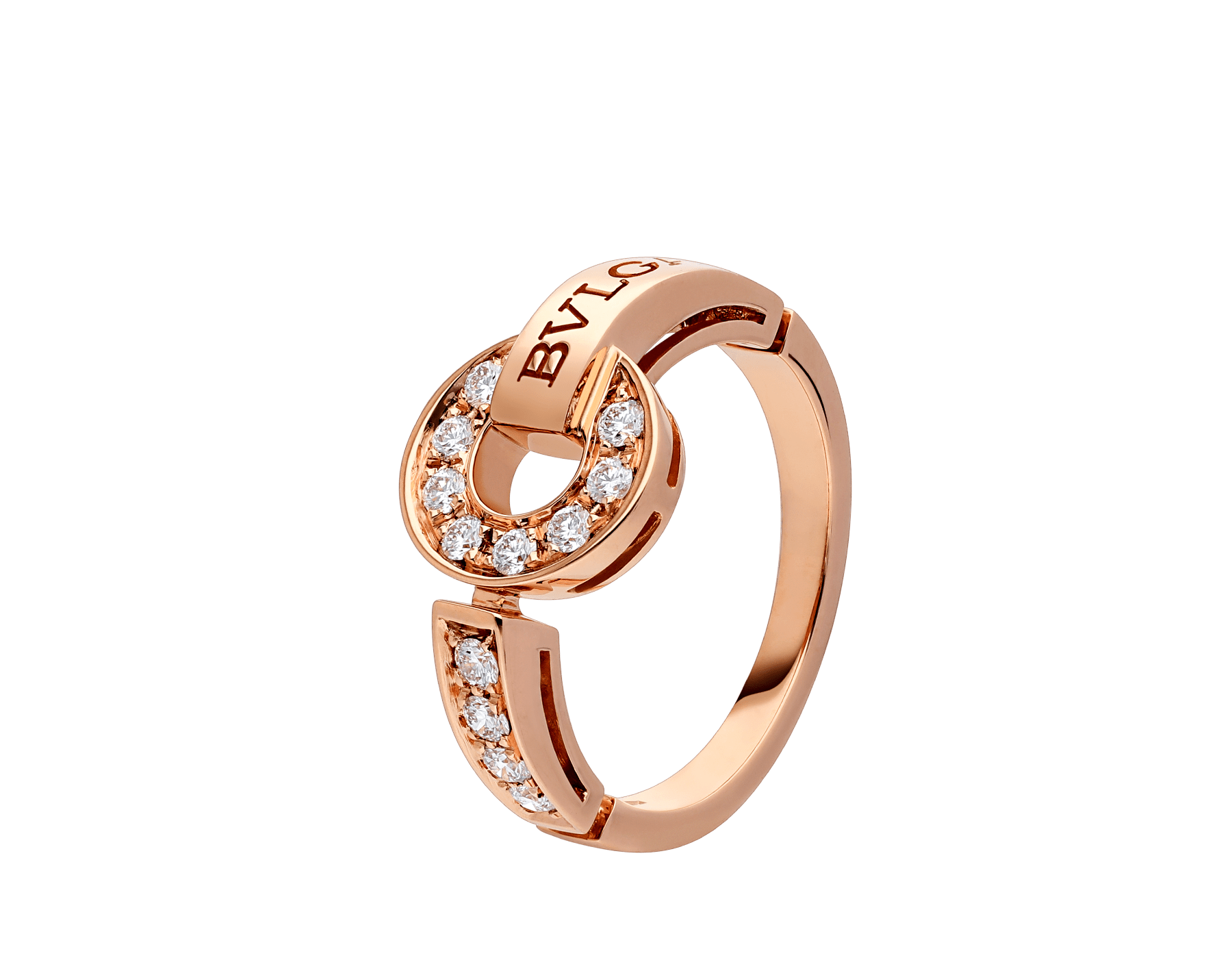 BVLGARI BVLGARI 18 kt rose gold ring set with pavé diamonds AN855854 image 1
