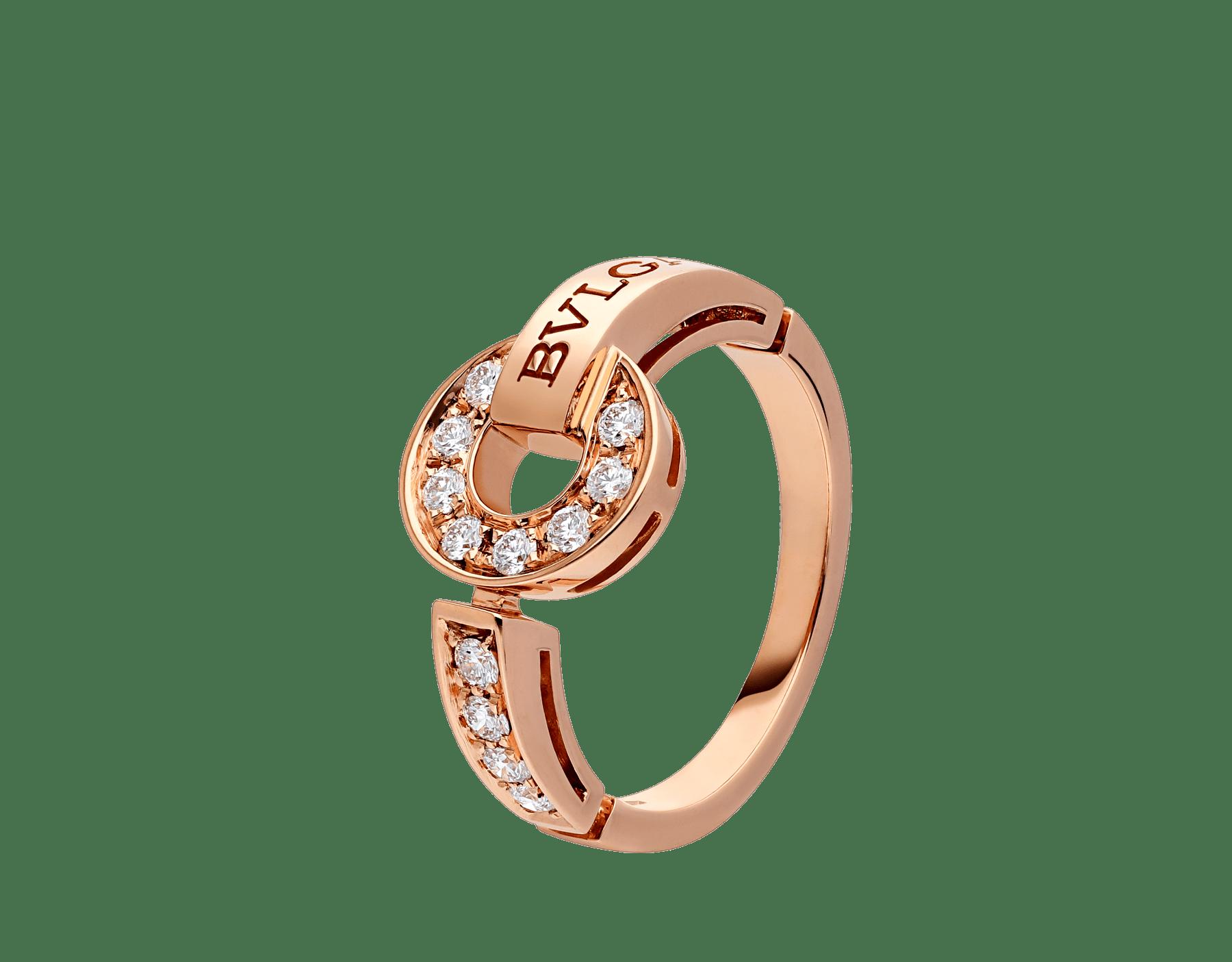 خاتم بولغري بولغري من الذهب الوردي عيار 18 قيراطاً، مرصع بالألماس المرصوف AN855854 image 1