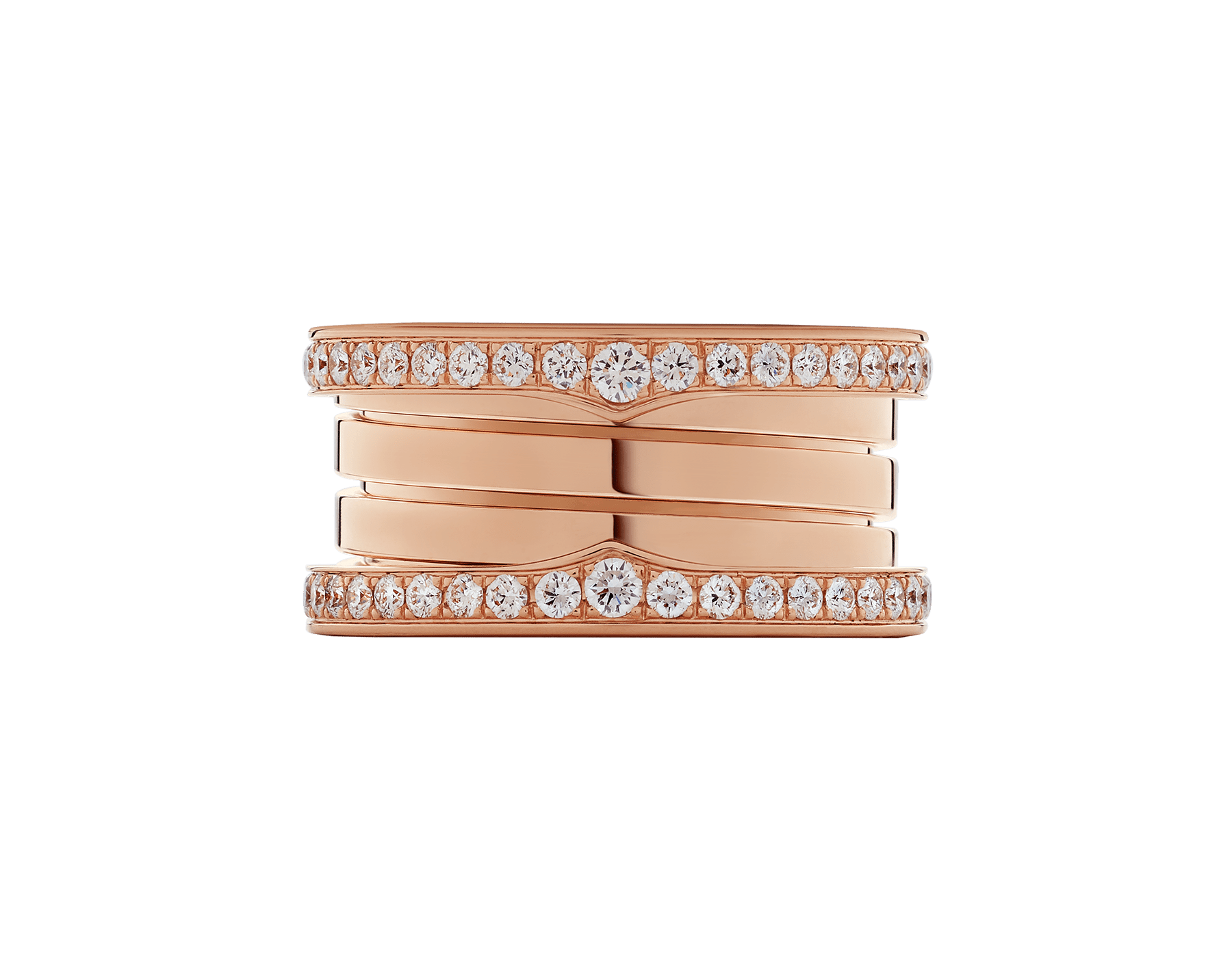 B.zero1 four-band ring in 18 kt rose gold set with pavé diamonds on the edges. B-zero1-4-bands-AN856293 image 3