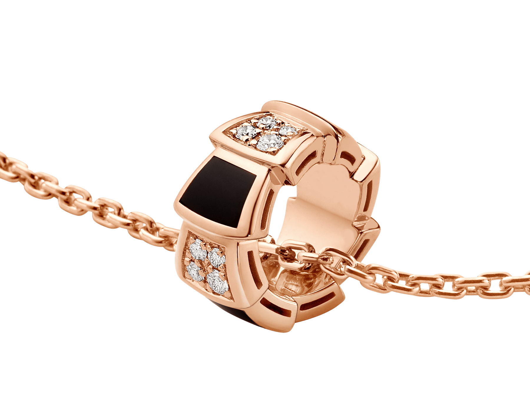 Serpenti Viper 18 kt rose gold necklace set with onyx elements and pavé diamonds (0.21 ct) on the pendant 356554 image 3