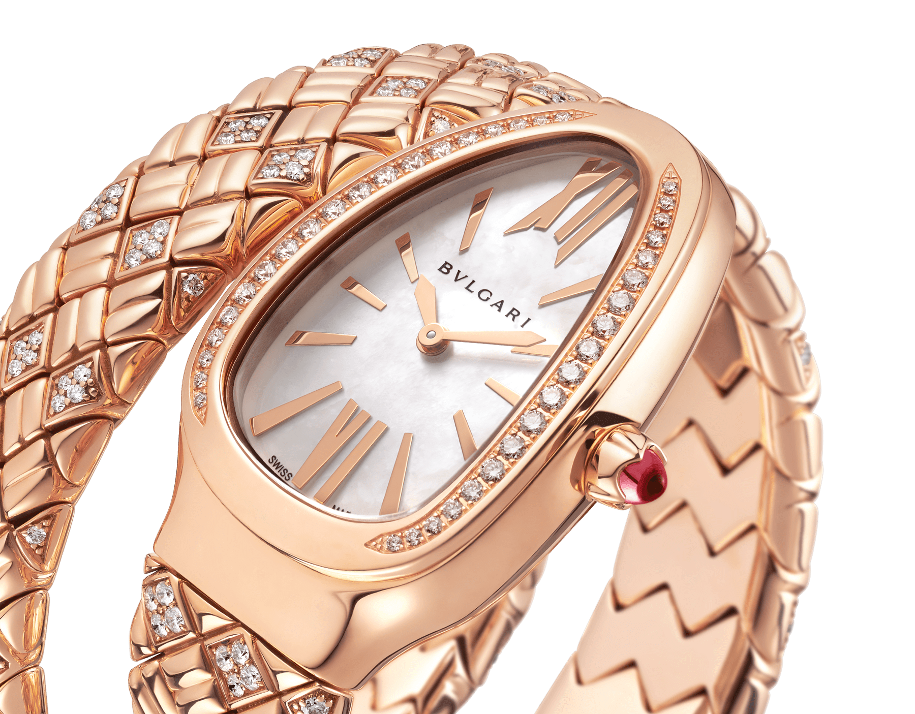 Serpenti Spiga single-spiral watch with 18 kt rose gold case and bracelet set with diamonds, and white mother-of-pearl dial 103250 image 3
