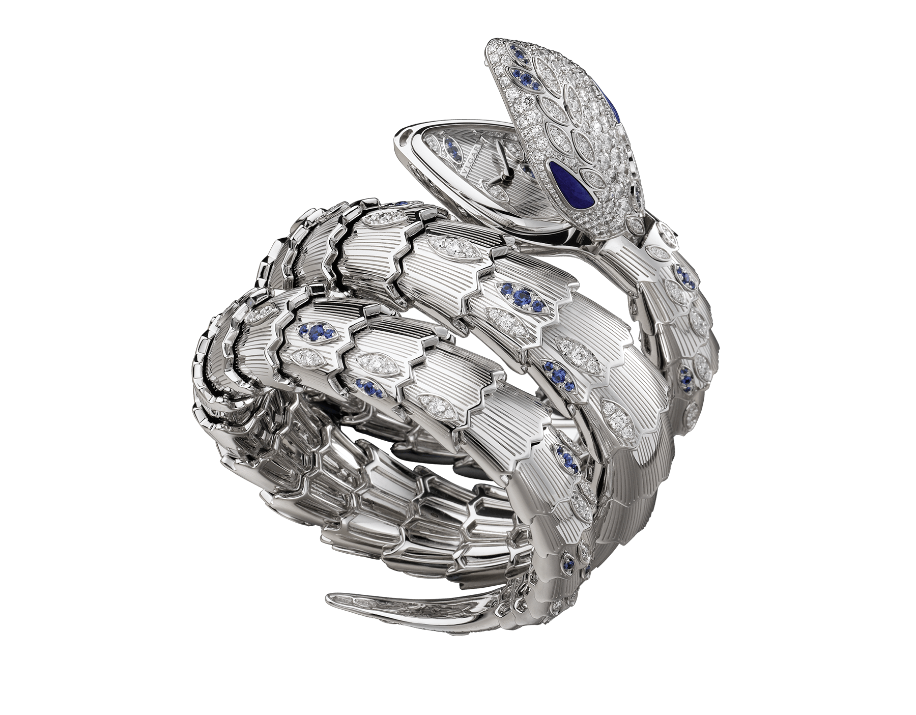 Serpenti Secret Watch with 18 kt white gold head set with brilliant cut diamonds, brilliant cut sapphires and lapis lazuli eyes, 18 kt white gold case, 18 kt white gold dial and double spiral bracelet, both set with brilliant cut diamonds and brilliant cut sapphires. 102000 image 1