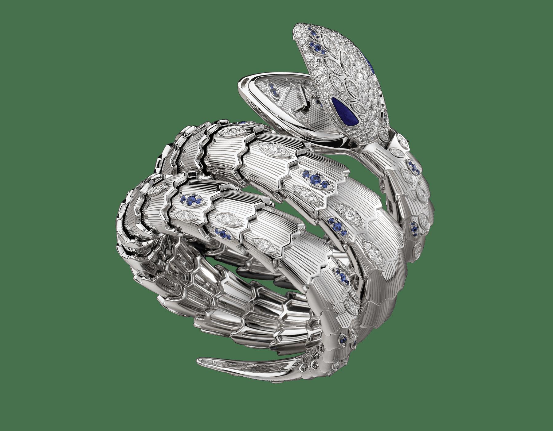 Montre secrète Serpenti avec tête en or blanc 18K sertie de diamants taille brillant, saphirs taille brillant et yeux en lapis-lazuli, boîtier en or blanc 18K, cadran et bracelet double spirale en or blanc 18K sertis de diamants taille brillant et saphirs taille brillant. 102000 image 1