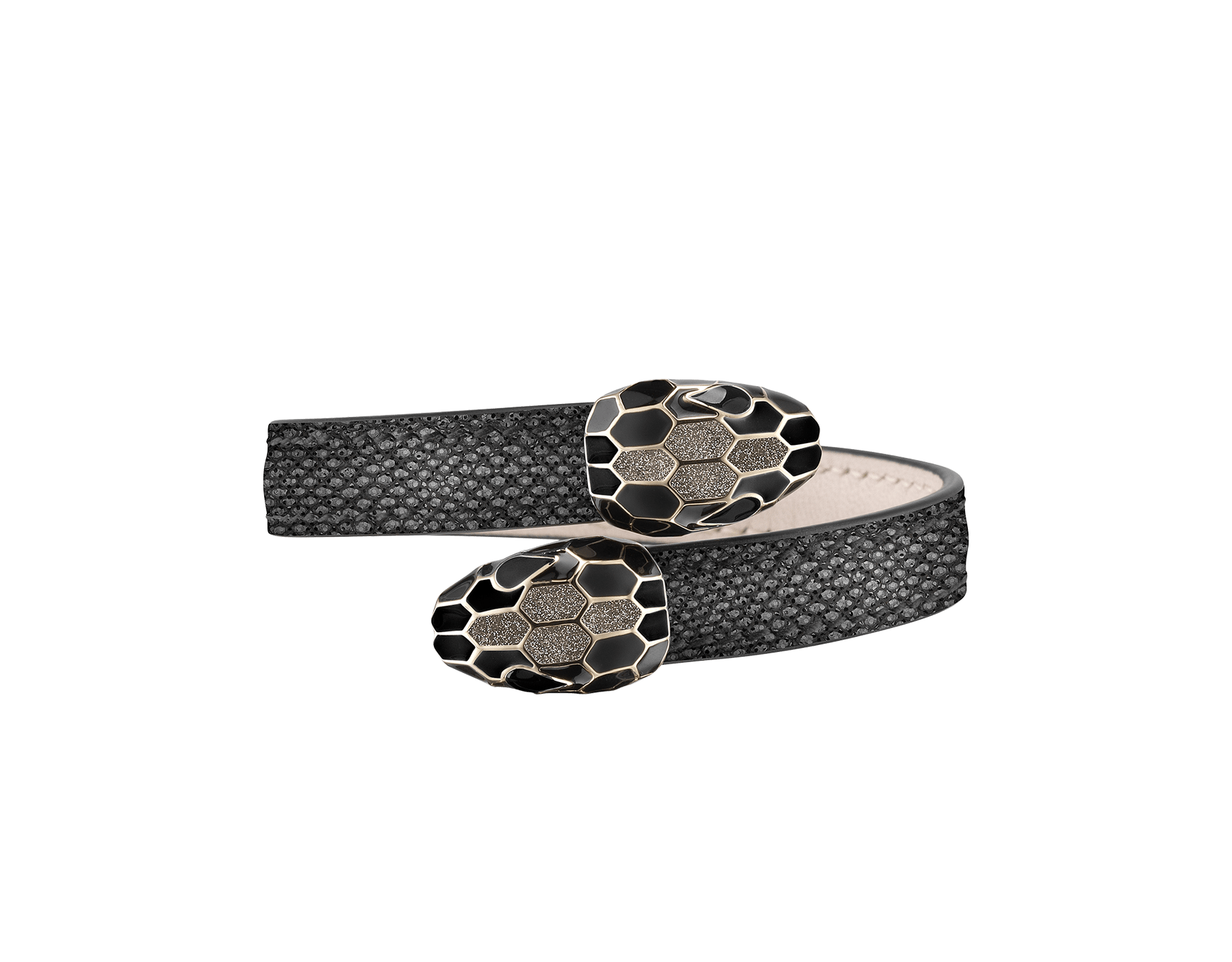 Serpenti Forever soft bangle bracelet in moon silver metallic karung skin, with brass light gold plated hardware. Iconic contraire snakehead décor in black and white enamel, with green enamel eyes SerpSoftContr-MK-MS image 1
