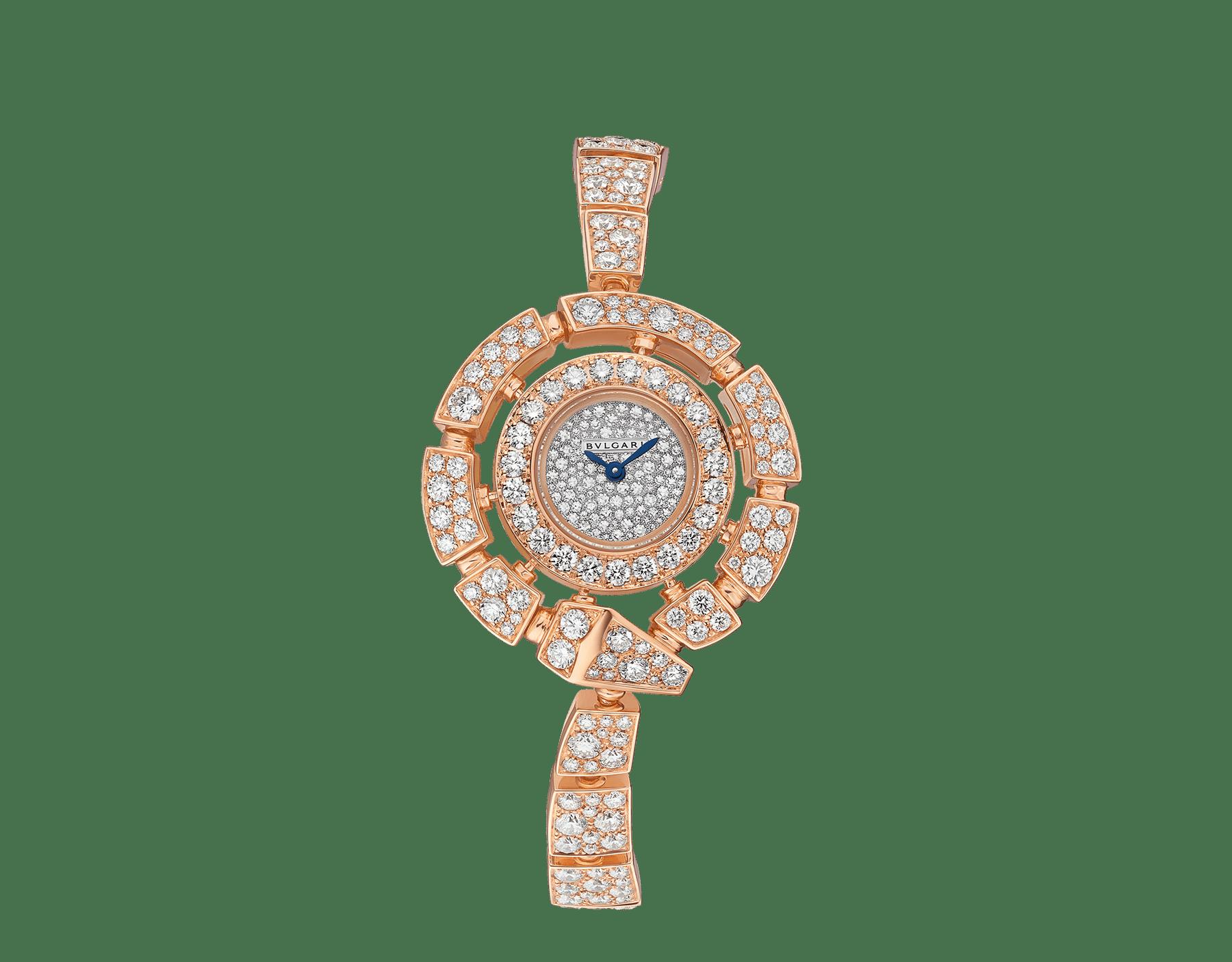 Serpenti Incantati 腕錶,18K 玫瑰金錶殼和錶帶鑲飾明亮型切割鑽石,雪花式密鑲鑽石錶盤。 102673 image 1