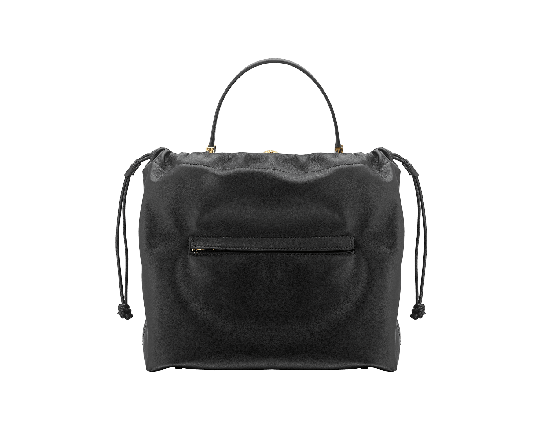 Alexander Wang x Bvlgari 2 in 1 satchel bag in black calf leather with black lambskin drawstring dust bag exterior. New Serpenti head closure in antique gold plated brass with tempting red enamel eyes. Limited edition. 288747 image 3
