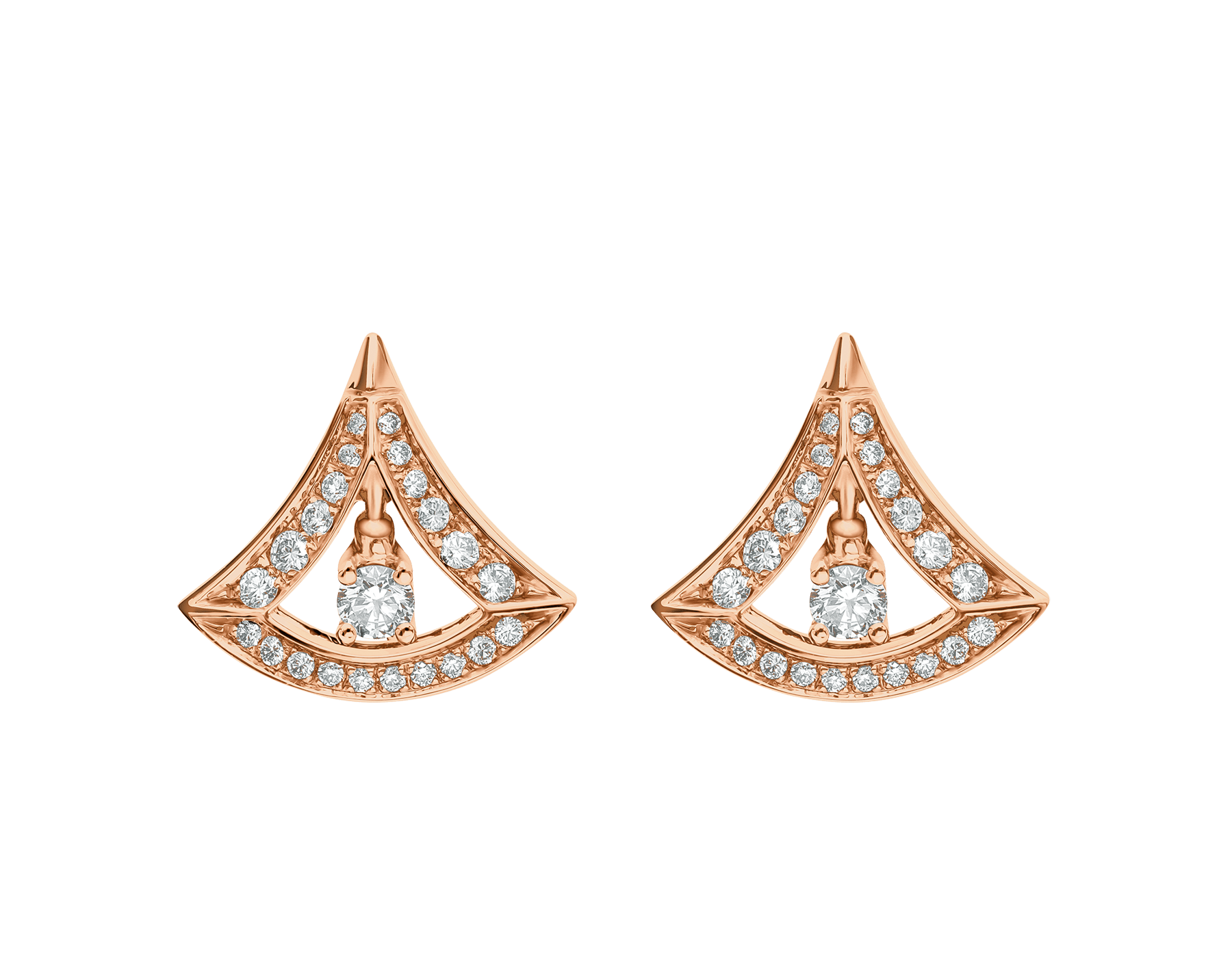 DIVAS' DREAM 18 kt rose gold earrings, set with round brilliant-cut diamonds and pavé diamonds. 356450 image 1