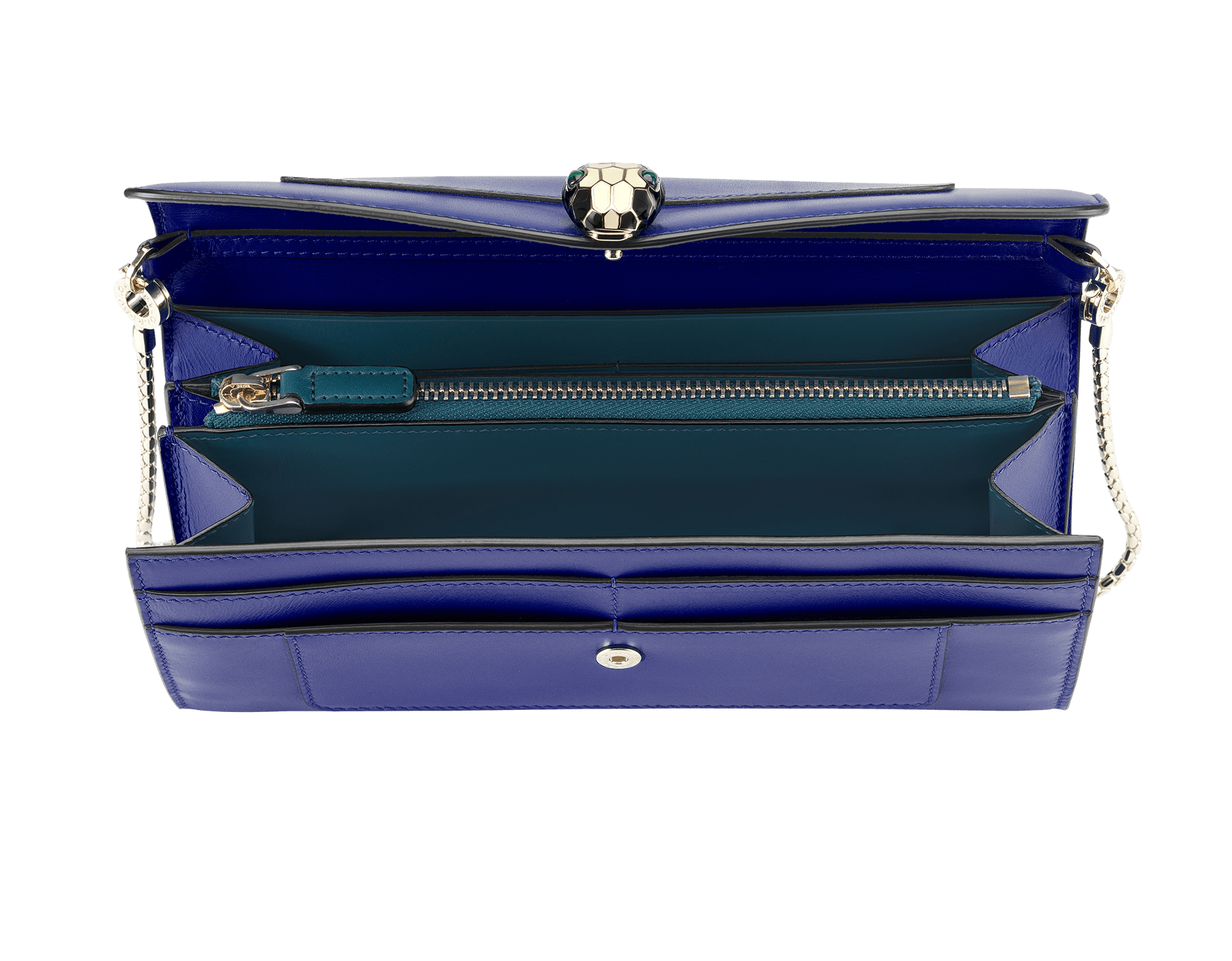 Wallet pouch in royal sapphire and teal topaz calf leather, with plum amethyst nappa lining. Brass light gold plated hardware and removable snake body shaped short chain. Two gussets, sixteen credit card slots, one bill compartment and one zipped pocket in the middle. Brass light gold plated Serpenti head stud closure in black and white enamel with malachite eyes. Also available in other colours. 19 x 10 cm. - 7.5 x 3.9 281316 image 2