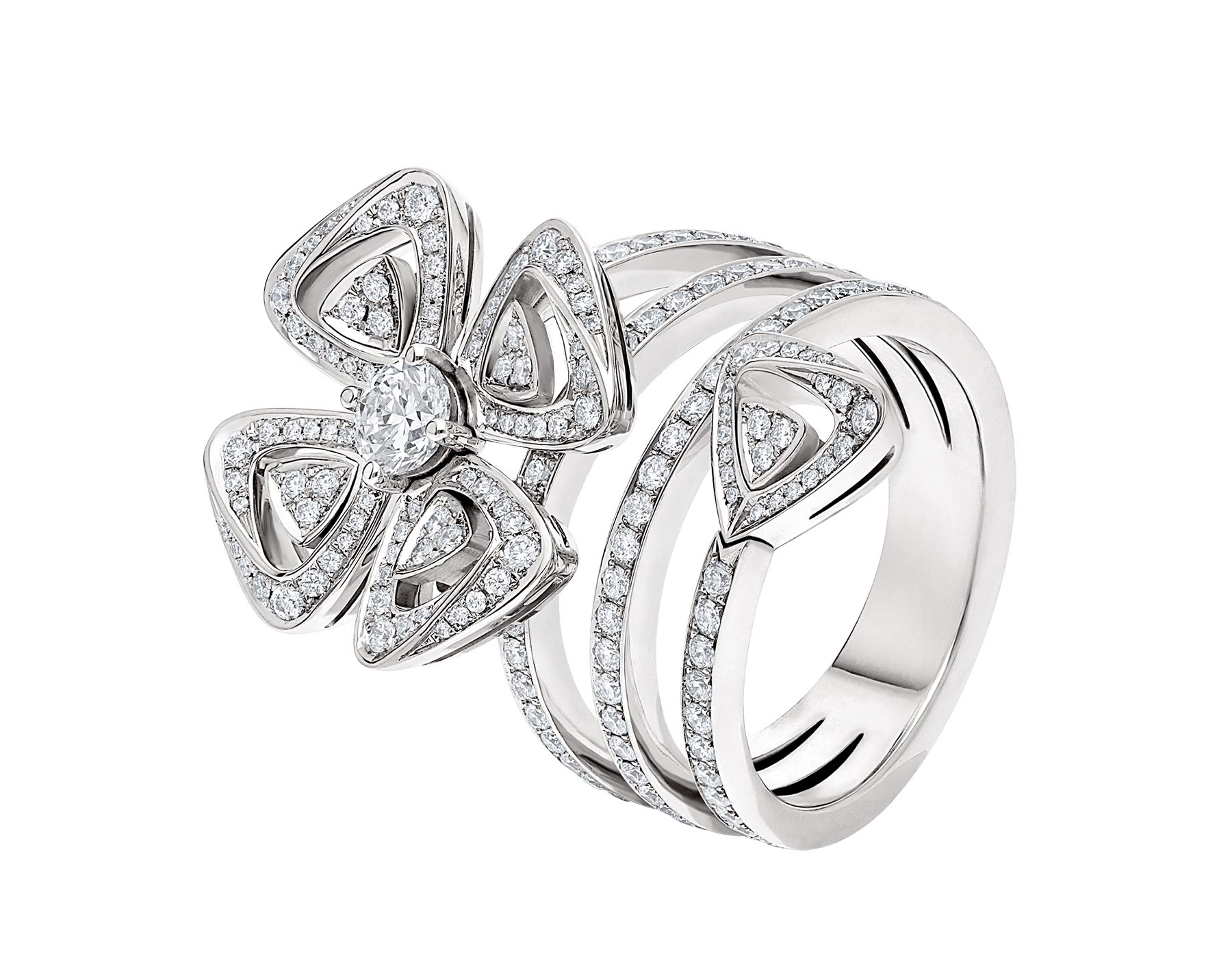 Fiorever 18 kt white gold ring set with a central brilliant-cut diamond (0.30 ct) and pavé diamonds (0.79 ct) AN859148 image 1