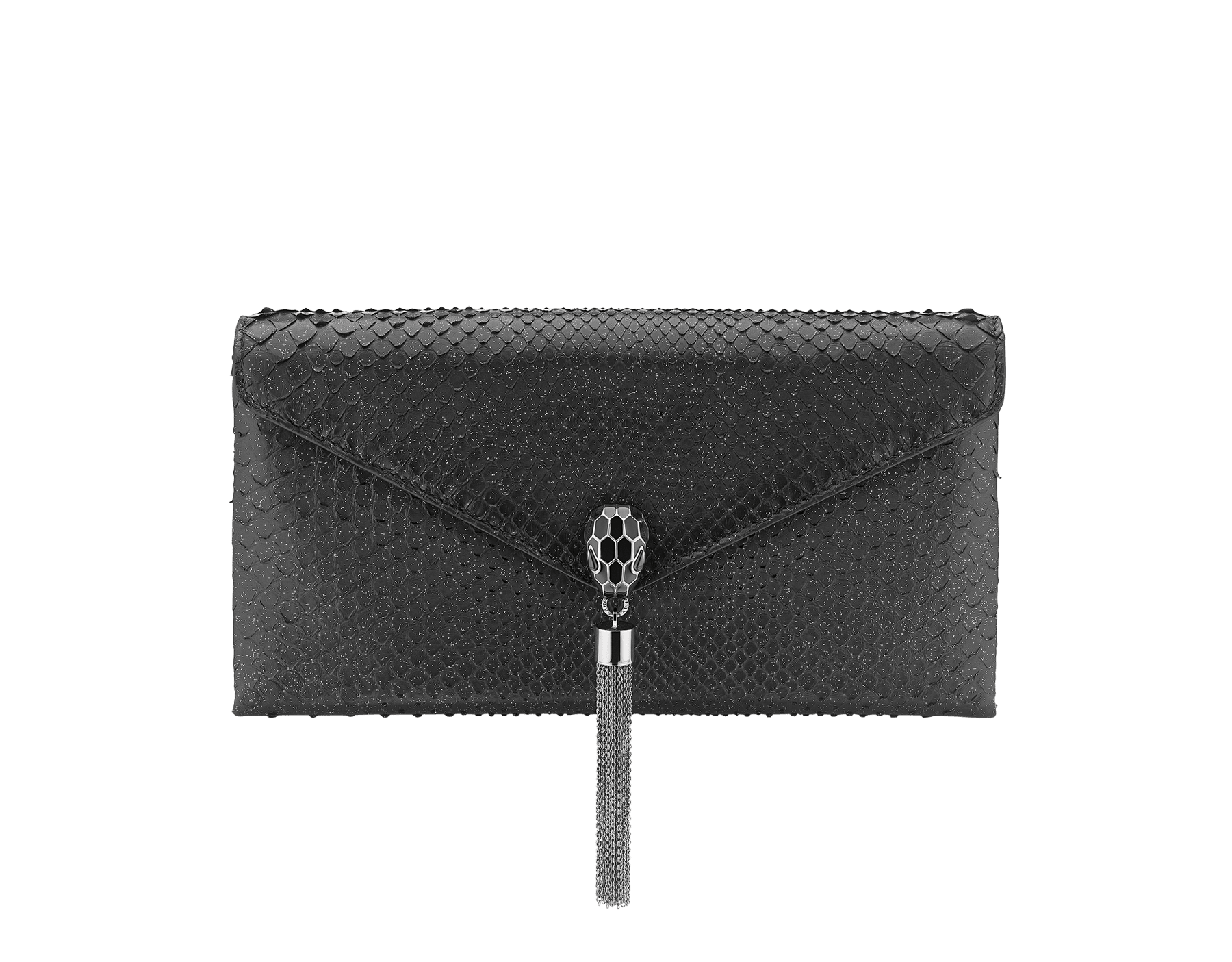 """""""Serpenti"""" evening clutch bag in black Diamond Glam python skin. Iconic snake head stud closure with tassel in dark ruthenium plated brass enriched with black shiny enamel and black onyx eyes. 289041 image 1"""