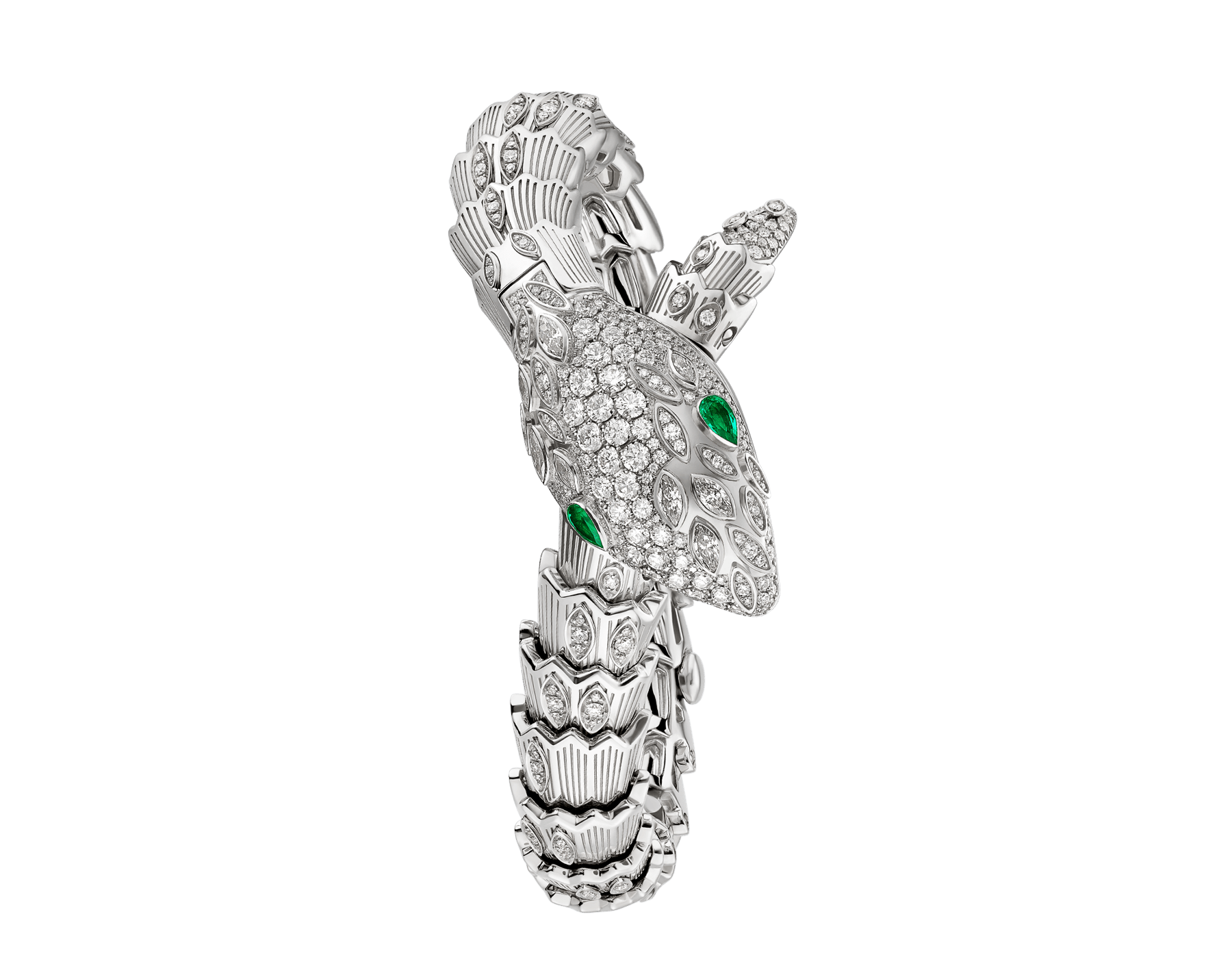 Serpenti Secret Watch with 18 kt white gold case, 18 kt white gold head, dial and single spiral bracelet all set with brilliant cut and marquise cut diamonds, and emerald eyes . 102238 image 1