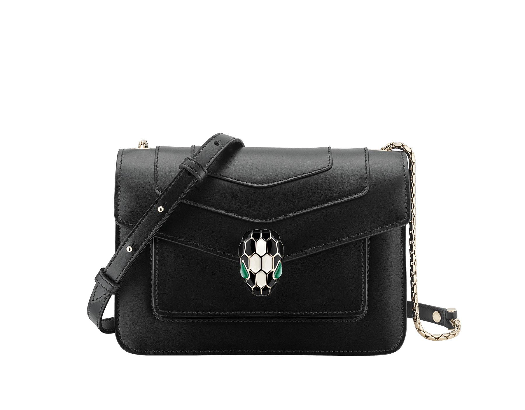 """""""Serpenti Forever"""" crossbody bag in emerald green calf leather. Iconic snake head closure in light gold plated brass enhanced with black and white agate enamel and green malachite eyes. 1082-CLa image 1"""