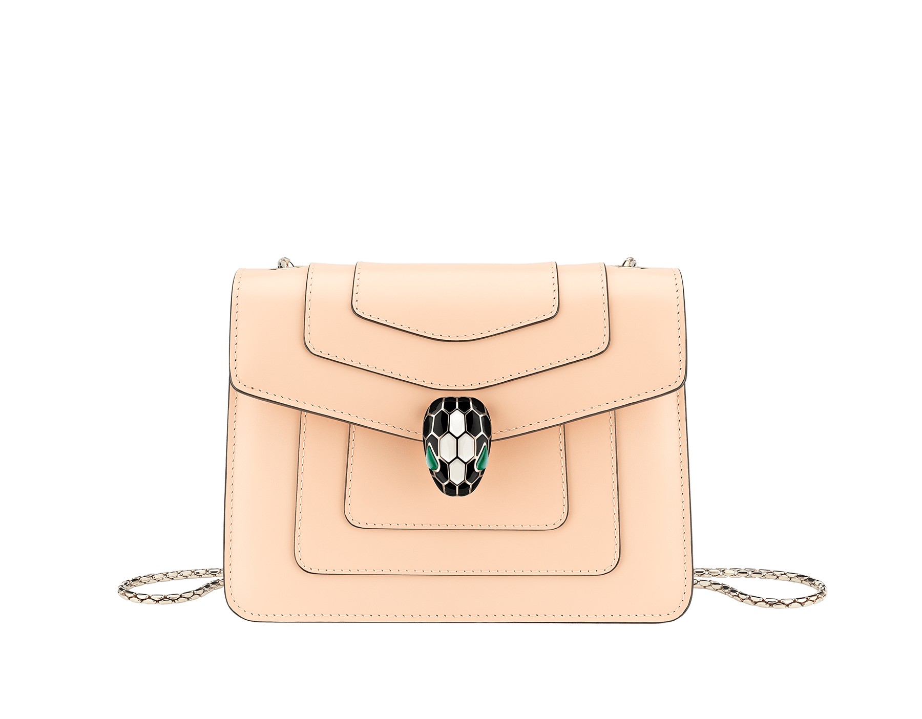 """Serpenti Forever"" crossbody bag in peach calf leather with Pink Spinel fuchsia gros grain internal lining. Iconic snakehead closure in light gold plated brass enriched with black and white agate enamel and green malachite eyes. 422-CLc image 1"