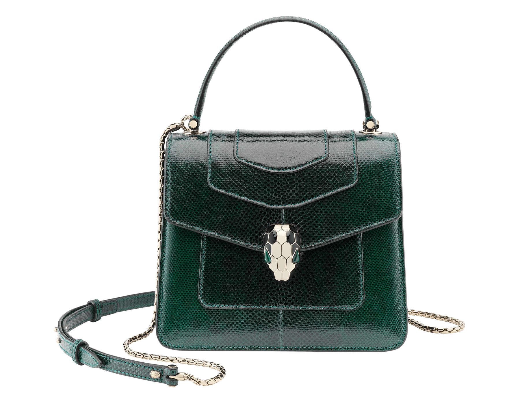 Flap cover bag Serpenti Forever in forest emerald shiny karung skin. Brass light gold plated hardware and snake head closure in black and white enamel with eyes in green malachite. 283517 image 1