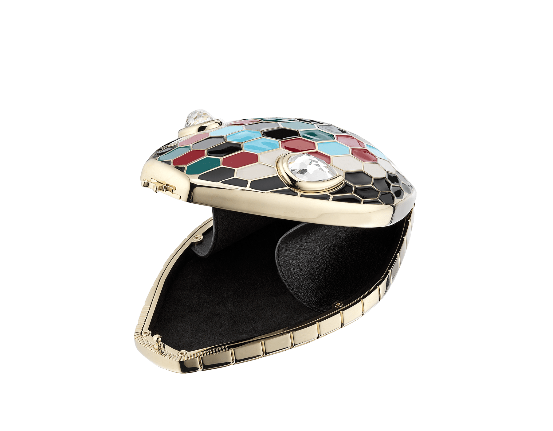 """""""Mary Katrantzou x Bvlgari"""" minaudière in light gold-plated brass with multicolour enamel scales, finished with seductive crystal eyes. Special Edition. MK-1153 image 2"""