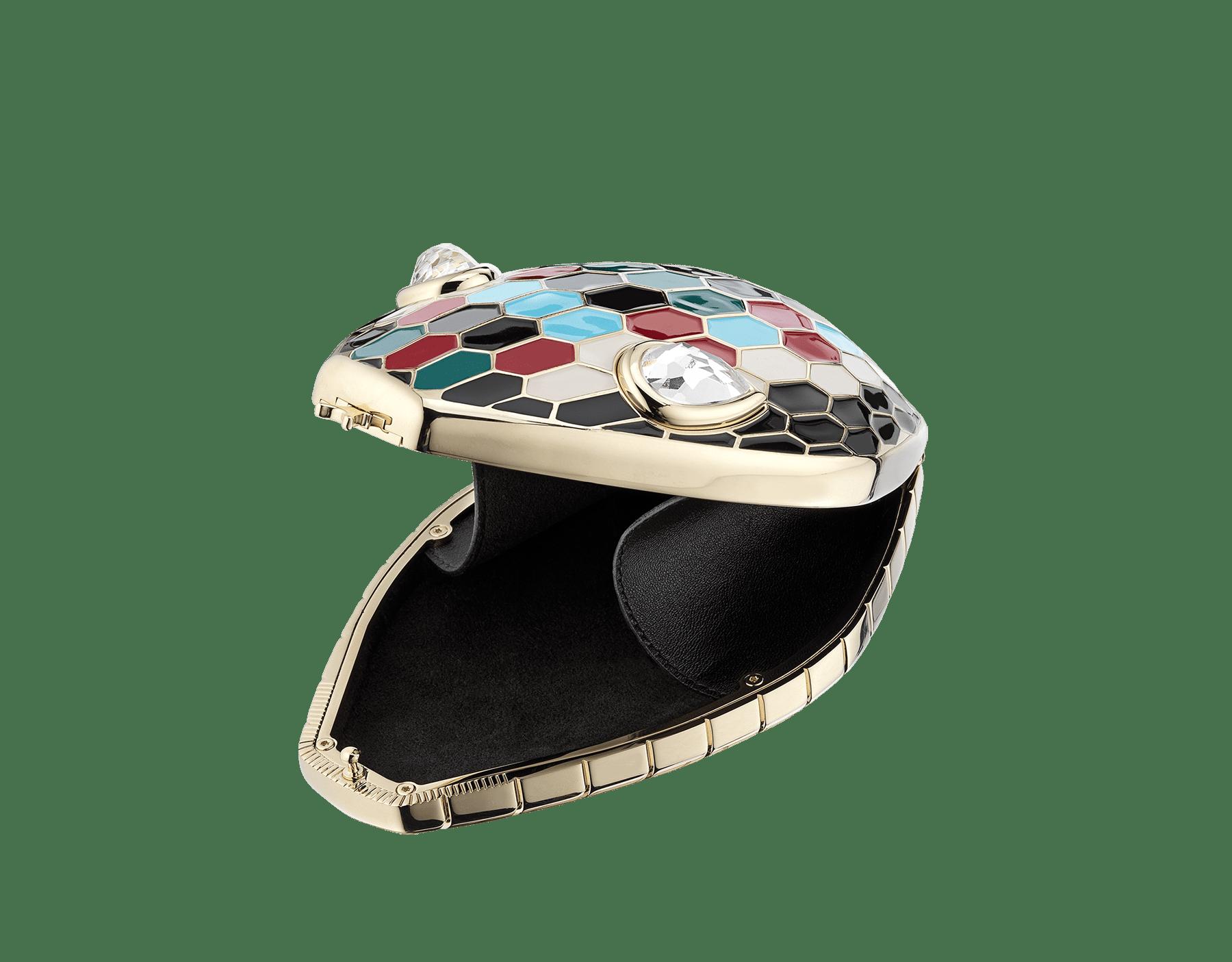 Минодьер Mary Katrantzou x Bvlgari, алюминий с покрытием из светлого золота, чешуйки из разноцветной эмали, гипнотические глаза из хрусталя. Специальная серия. MK-1153 image 2