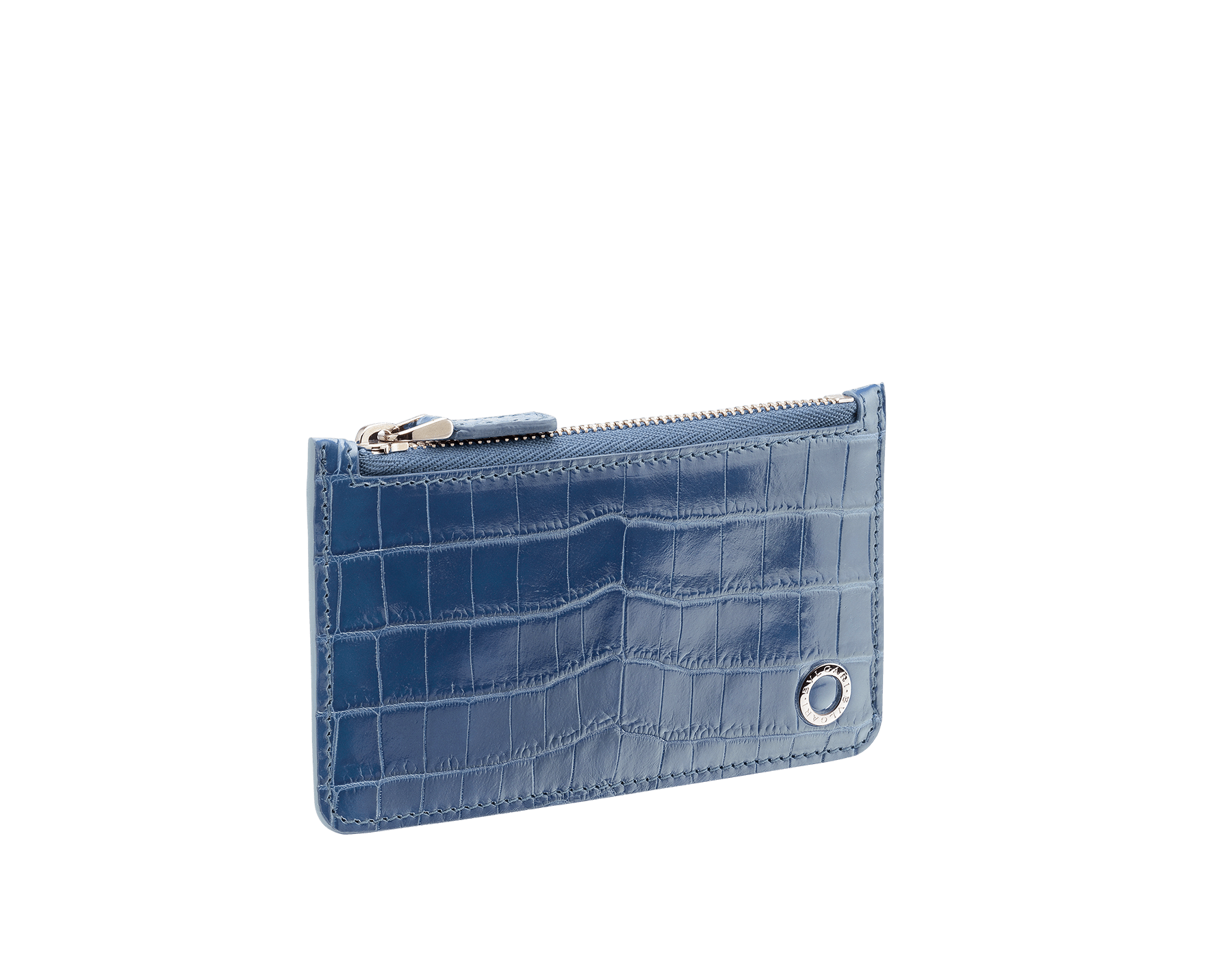 Credit card holder in Roman garnet shiny crocodile skin and denim sapphire smooth calf leather with brass palladium plated BVLGARI BVLGARI motif. BBM-CC-HOLDER-ZIP image 2