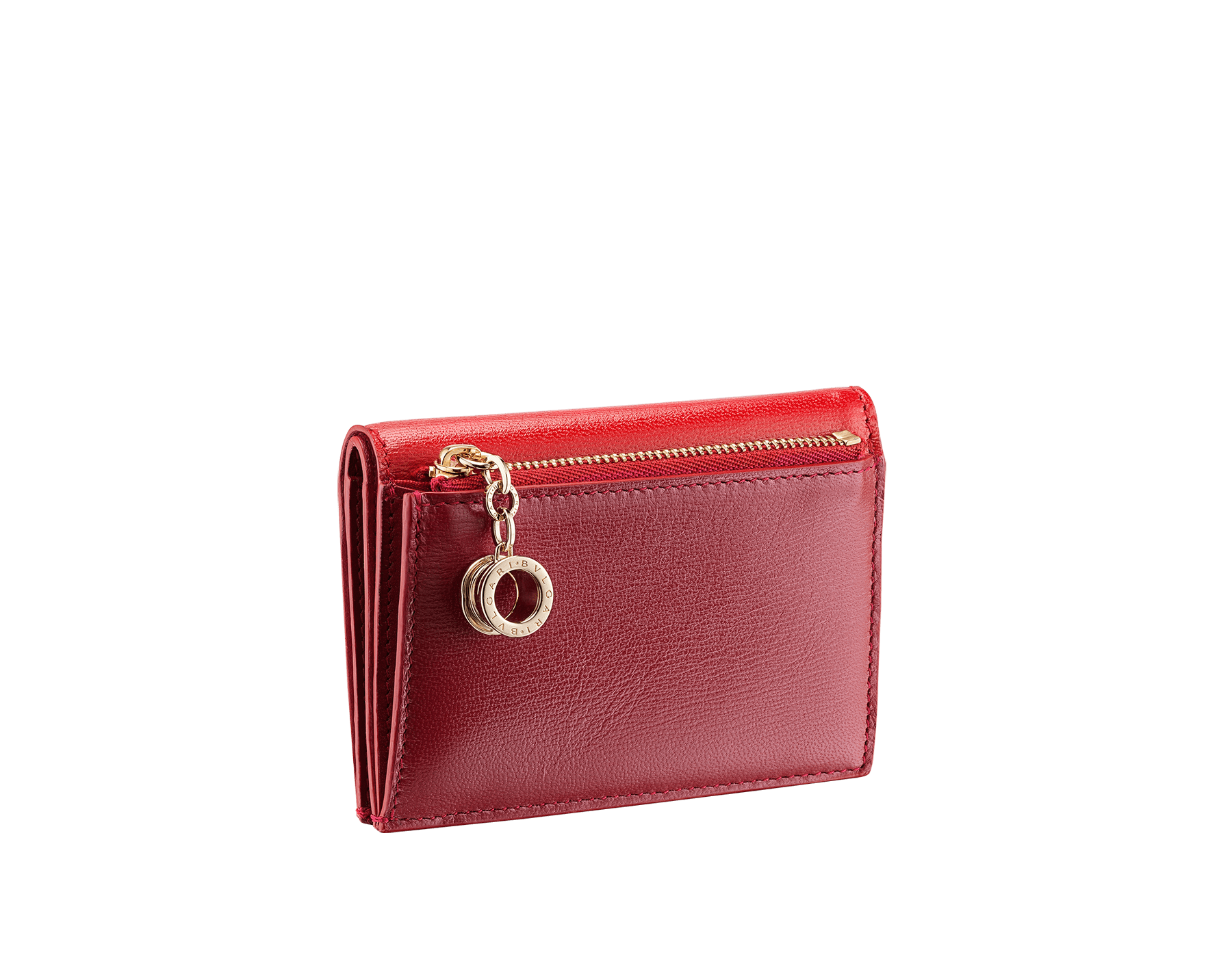 B.zero1 double folded credit card holder in carmine jasper and ruby red goatskin. Iconic B.zero1 charm in light gold plated brass. 289151 image 3