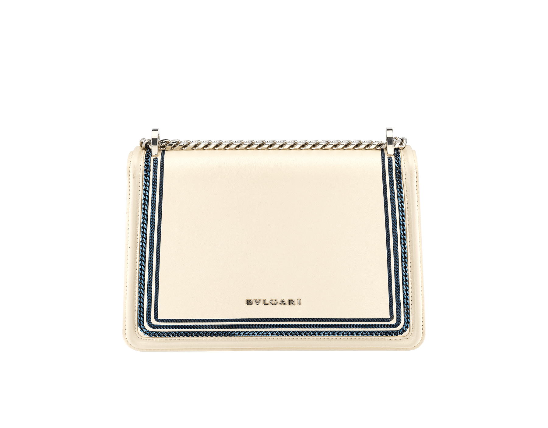 """""""Serpenti Diamond Blast"""" shoulder bag in Ivory Opal white smooth calf leather, featuring a Teal Topaz green 3-Maxi Chain motif, and an Aquamarine light blue nappa leather internal lining. Tempting snakehead closure in palladium-plated brass, embellished with Teal Topaz green and Ivory Opal white enamel, and black onyx eyes. 291173 image 6"""