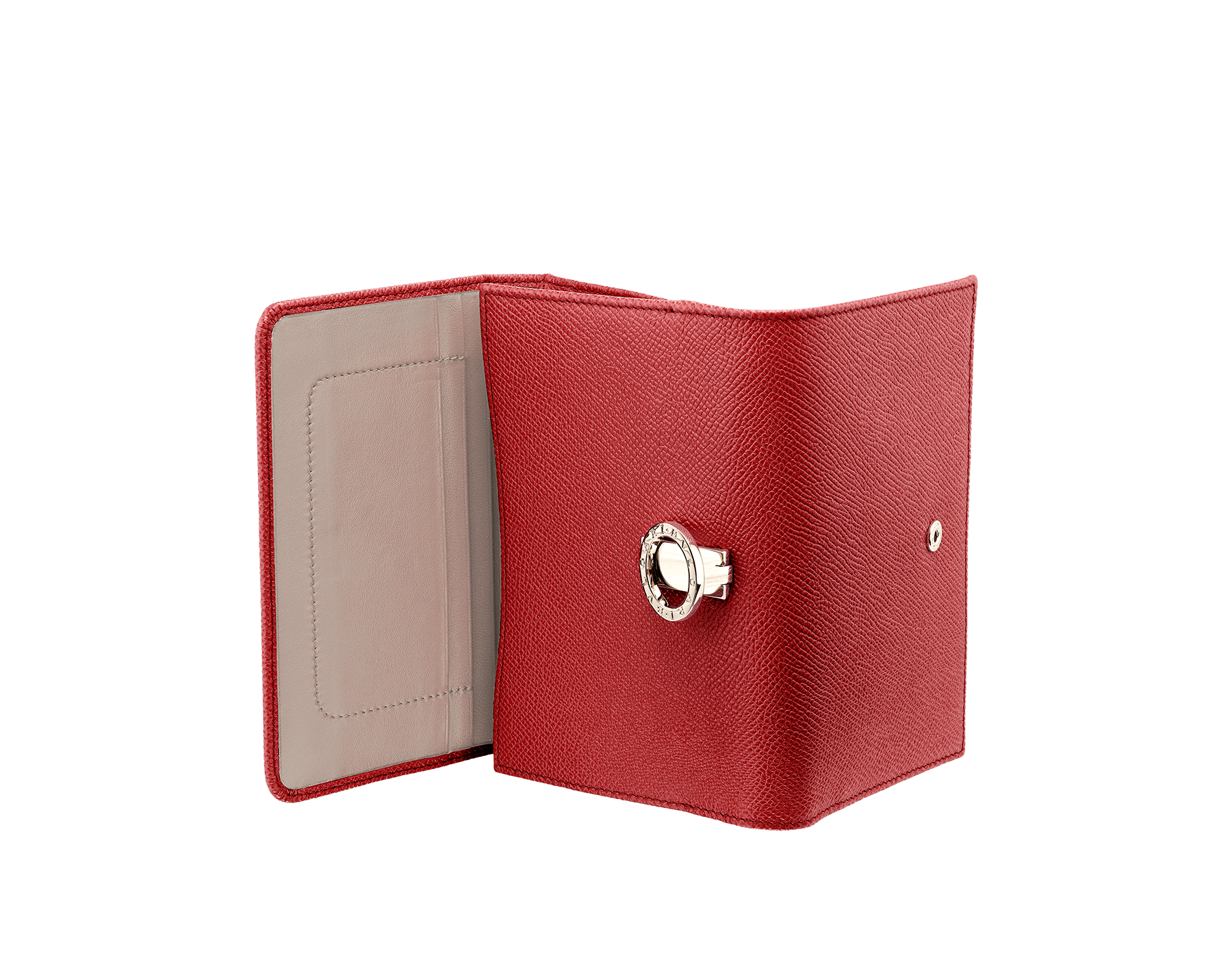 Compact pochette in ruby red bright grain calf leather, desert quartz nappa and fuxia nappa lining. Brass light gold plated hardware and iconic BVLGARI BVLGARI closure clip. 281454 image 3