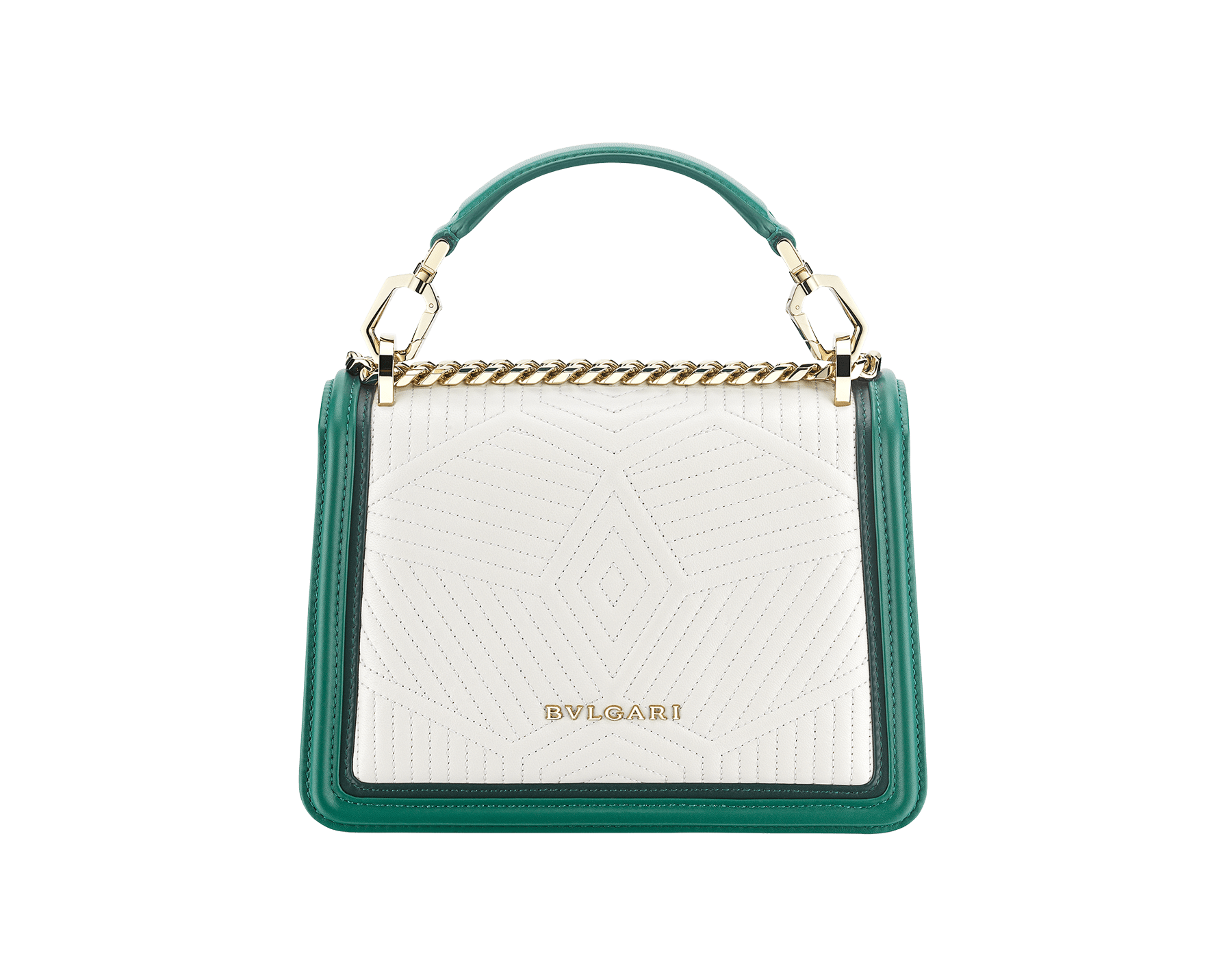 """Serpenti Diamond Blast"" top handle bag in white agate quilted nappa leather and emerald green smooth calf leather frames. Iconic snakehead closure in light gold-plated brass enriched with matte black and shiny emerald green enamel and black onyx eyes. 289944 image 3"
