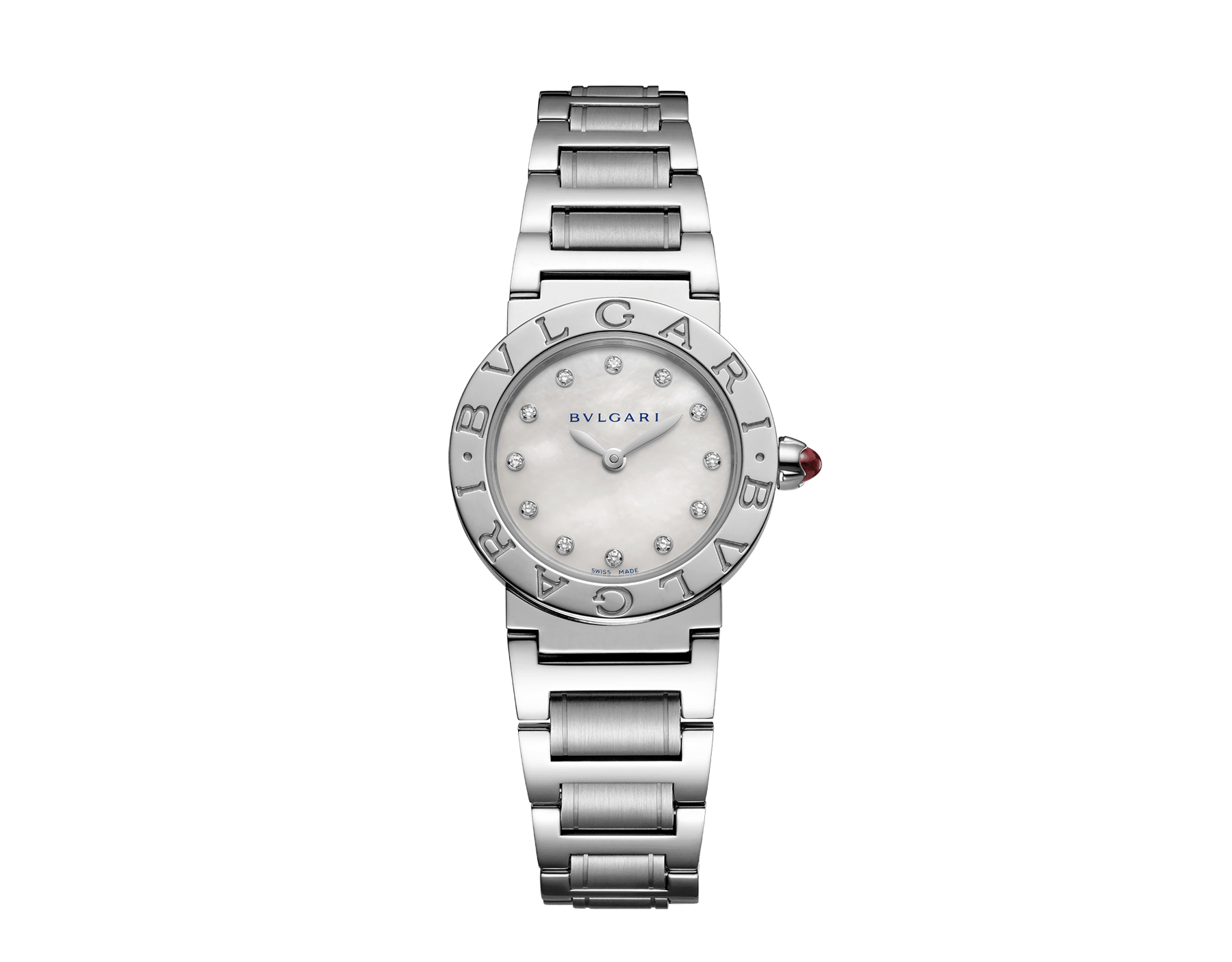 BVLGARI BVLGARI watch in stainless steel case and bracelet, with white mother-of-pearl dial and diamond indexes. Small model 101886 image 1