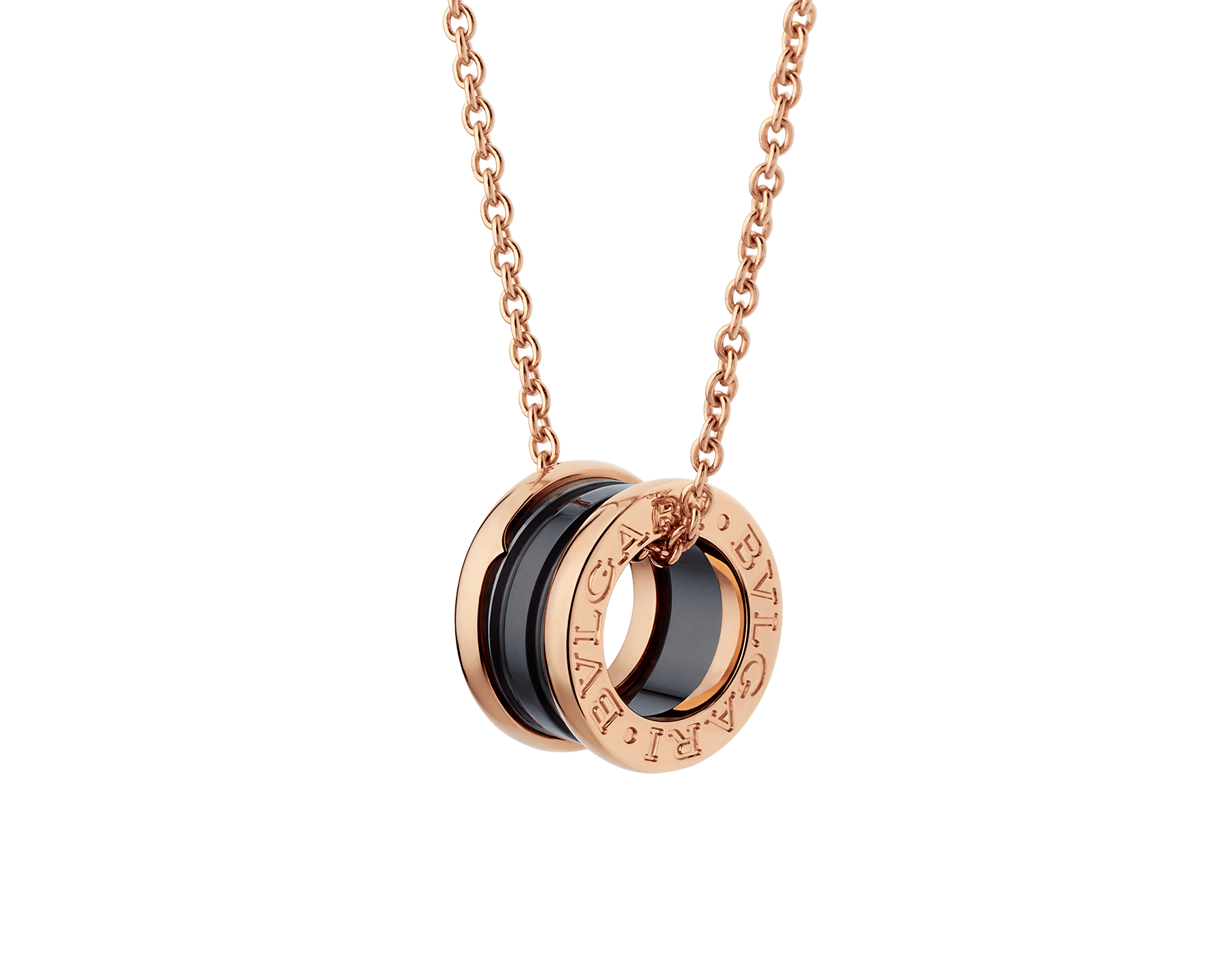 B.zero1 necklace with 18 kt rose gold chain and with 18 kt rose gold and black ceramic pendant. 346083 image 1