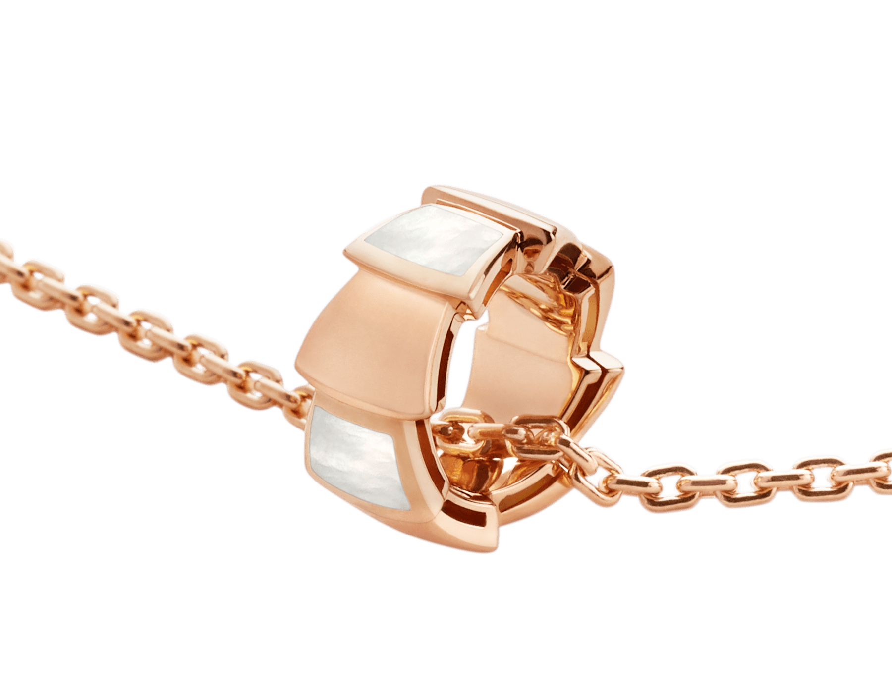 Serpenti 18 kt rose gold necklace with pendant set with mother-of-pearl elements 355795 image 3